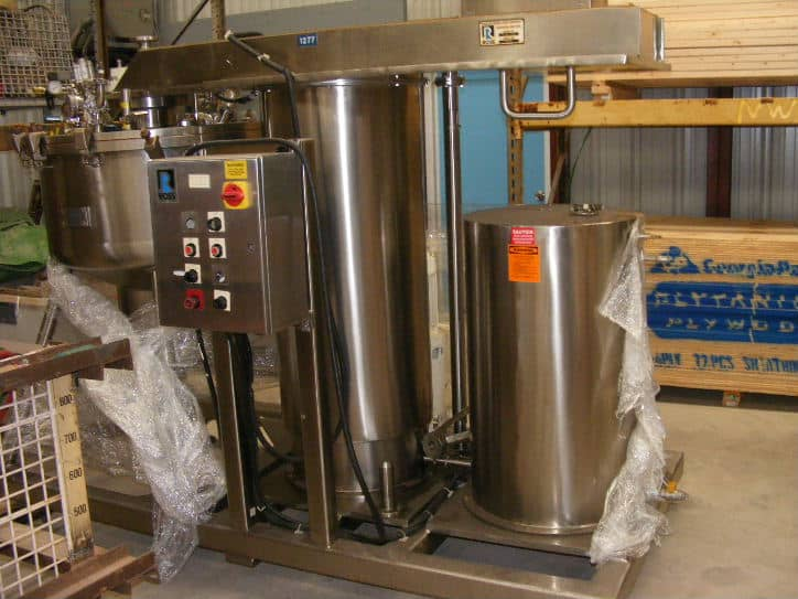 "ROSS S/S High Shear Pharmaceutical Mixing Reactor,100 Gal., Model RVMS-100, S/N 75405. Rated 30 PSI @ 300 Deg.F. Has ""Egg Beater"" and turbine blade on one mixing shaft. Mixer drive is Lightnin 1.74 HP, 208-220/440 volt, 1725/1425 RPM. Has lift to raise mixer and lid. (Located in NJ)(***ECR***)"