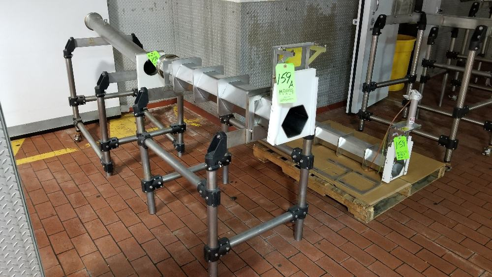 "S/S Mold Presses - (1) Hexagon and (1) Round -- Product Opening 6"" W x 5-1/4"" H and 4-1/2"" (NOTE: Pneumatic Gate Cylinders Not Included and (1) Missing Mounting Brackets"