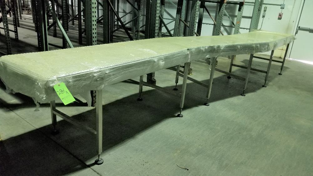 "~20 ft. L S/S Conveyor with Slight Curve, 29-1/2"" W Intralox Belt and Drive"