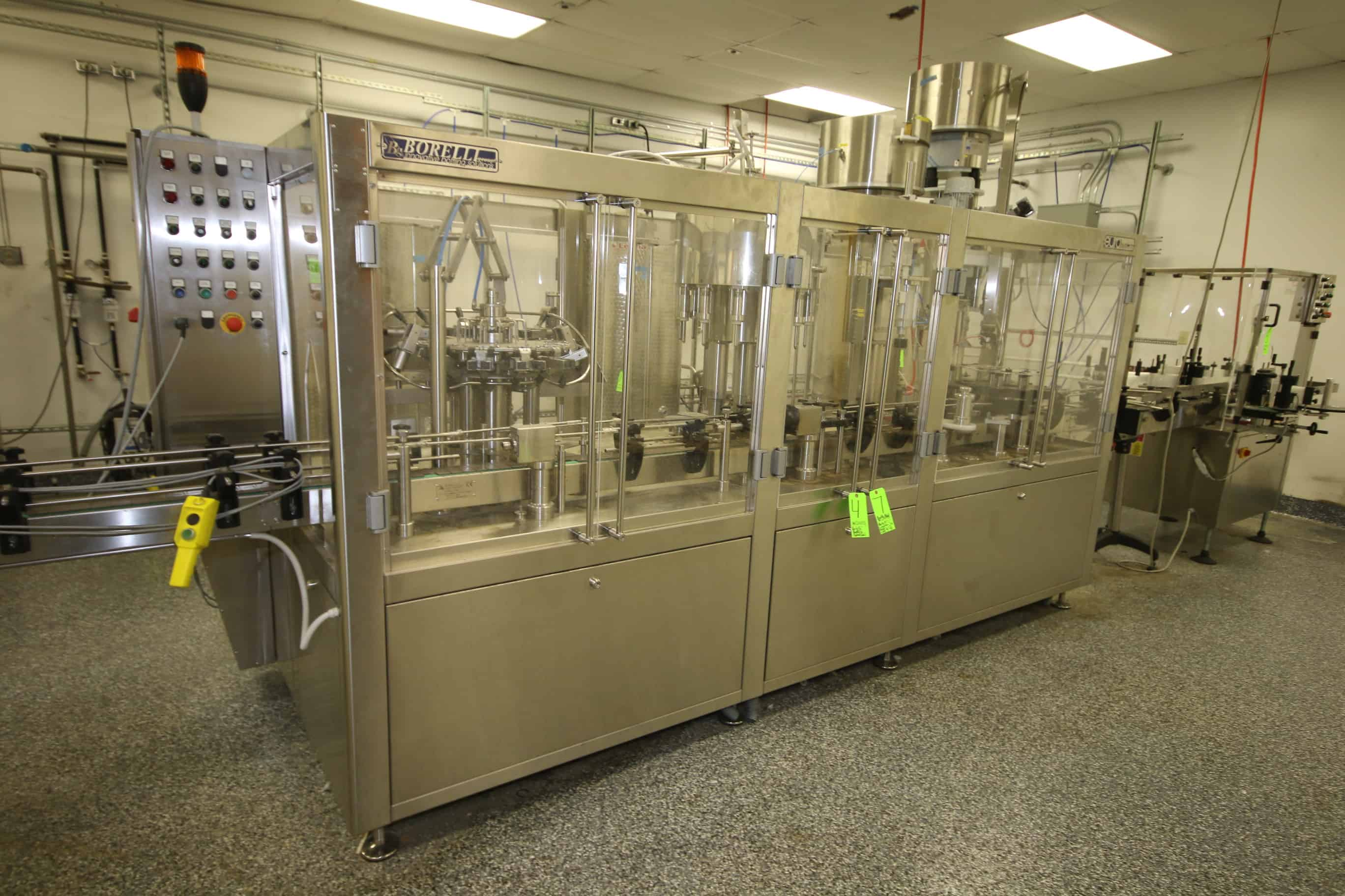 2016 Borelli Compact Bottling System, M/N Euro SYSTEM XP12-C12PK, with Automatic Monoblock Rinsing/Filling/Capping Stations, with 12-Gripper Rinser, Includes Recycle Rinser/CIP System with Pump, Vessel, and Filters, with 12-Valve Gravity/Low Depression Filler, and Arol Capping System, S/N A3714, with Controls and Change Parts, Up to 2,000 Bottles Per Hour