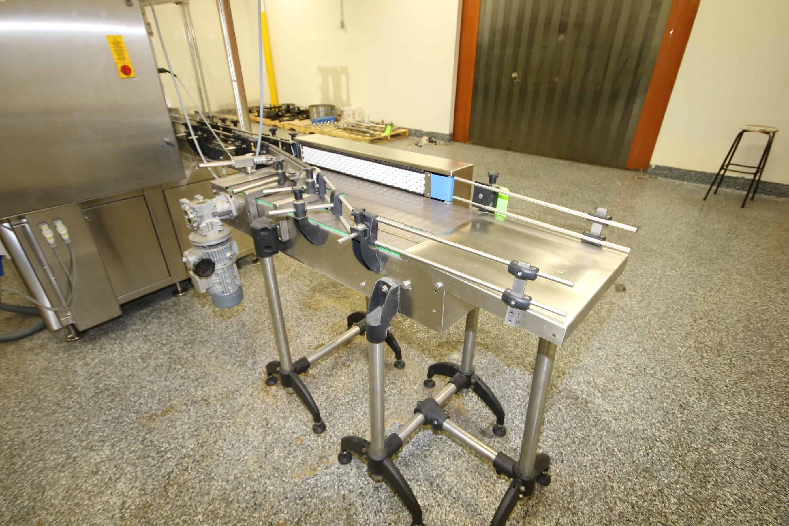 "S/S Descrambling/Infeed Table, with (4) Lanes of Conveyor Chain, and Diverter Arm, Overall Dims.: Aprox. 62"" L x 33"" W x 44"" H"