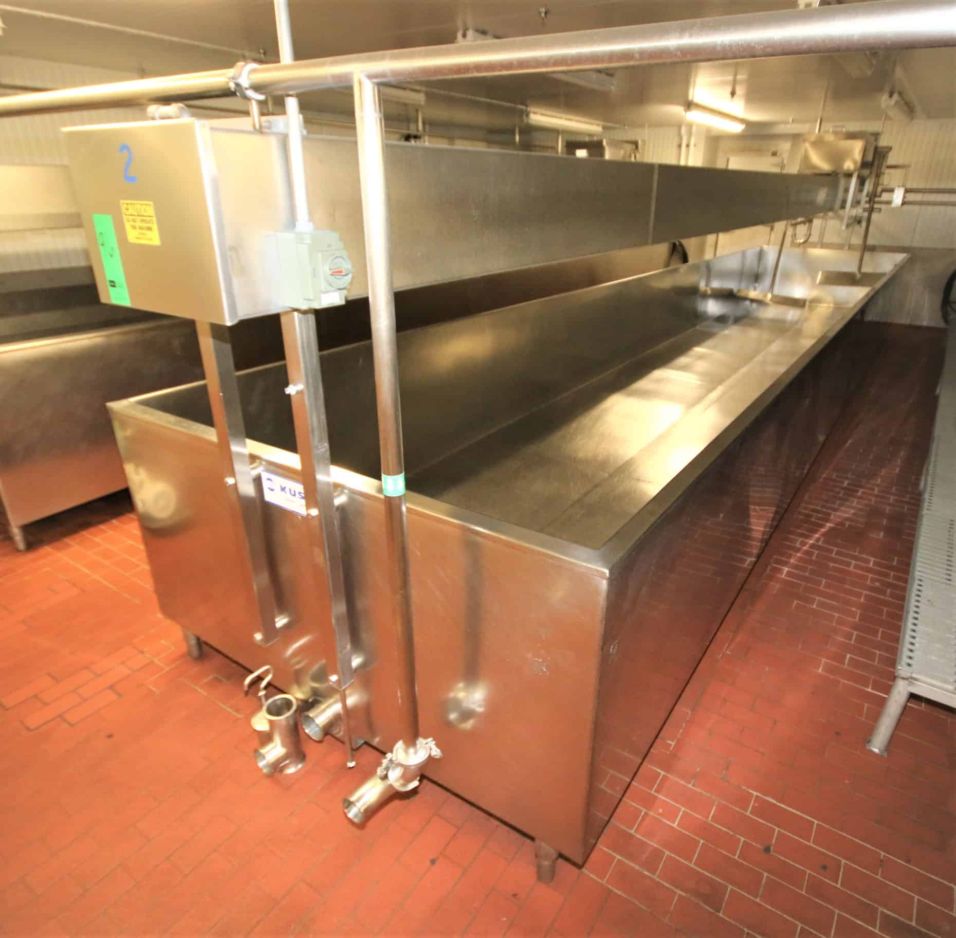 "Kusel Approx. 5,000 Gal. Open-Top Cheese Vats with Overhead Bridge Agitation, Agitator Blades, Allen Bradley SLC PLC Controls, Vat Dimensions Approx. 33 ft. 8"" L x 80"" W x 36"" H"