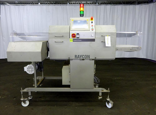 (8)Sesotec Raycon X-Ray Food Inspection System, Type 450/100 US-INT 50.  Serial # 11422018352-X.  Has an integrated conveyor belt that is designed for use in wet or dry applications and inspects packaged food product for contaminants or other unwanted defects.  In-line detection of magnetic or non-magnetic metals, glass, ceramic, stone, bone, PVC, rubber, etc., even in metallic or metal-coated packaging such as foil. The X-ray inspection software is also optimized to identify product defects such as broken, deformed or missing product with minimal operator training.    X-Ray Tube Model VJT120, X-Ray Power 50kV/100W.  Built 2014.