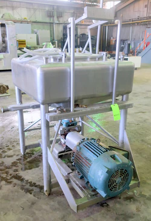APV Crepaco Liquiverter, approximately 25 gallon, Serial #  E-4879.  Mounted on (4) stainless steel legs, driven by an approximate 25 HP motor.