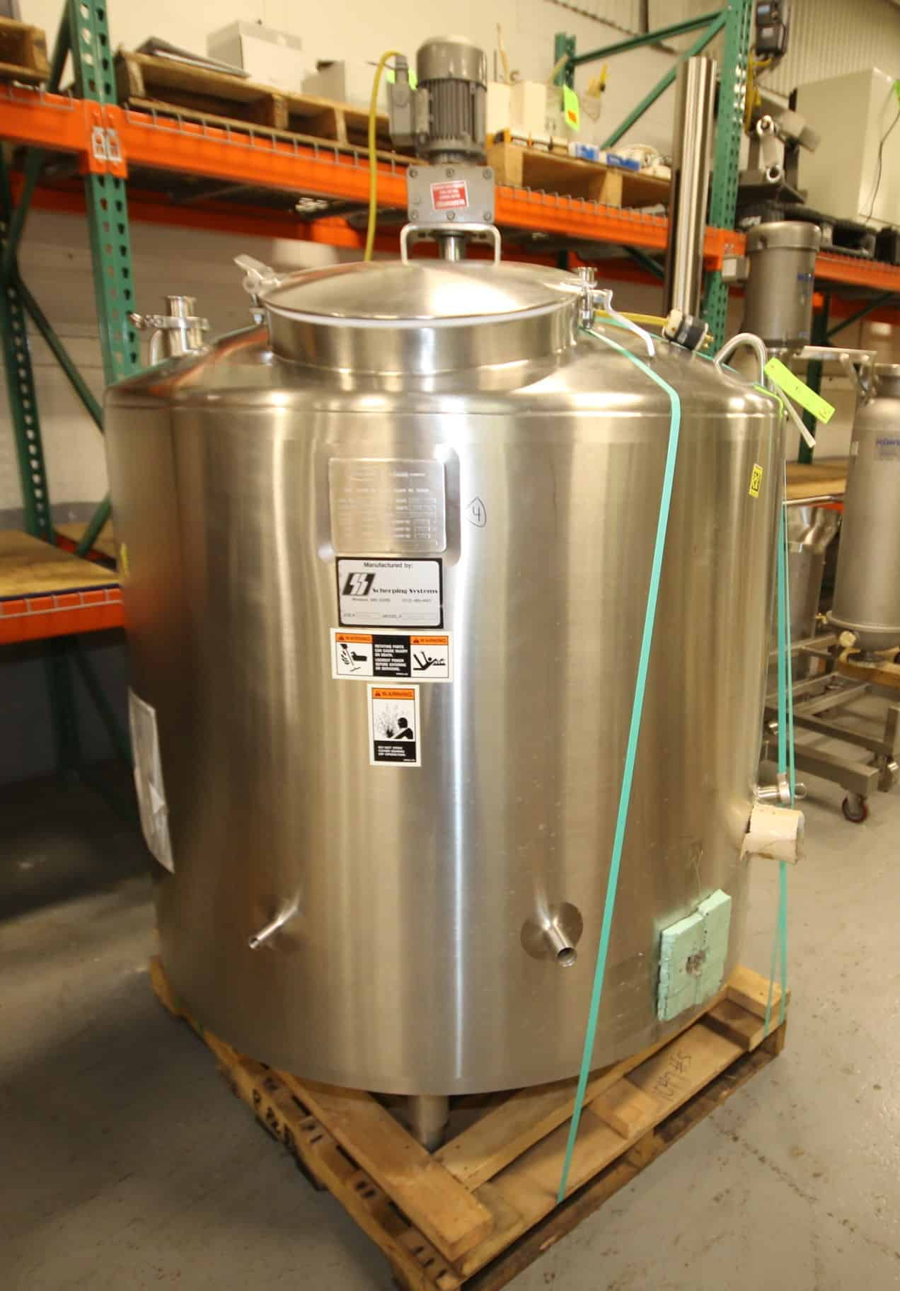 "Walker 200 Gal Dome Top S/S Processor / Cheese Starter Tank, Model PZ, SN SPG-15138, with Bottom Sweep Agitator with Nord .37 KW @ 30 RPM Drive Motor - 230/460V 3 Phase, Baffle, Dual Sprayball, Top Hinged Mandoor, All S/S Bottom, Heating - 15 psig mawp @ 250 degree F, Cool - 100 psig @ 100 degree F, (Overall Diam. - 54"" W x 7 ft H)"