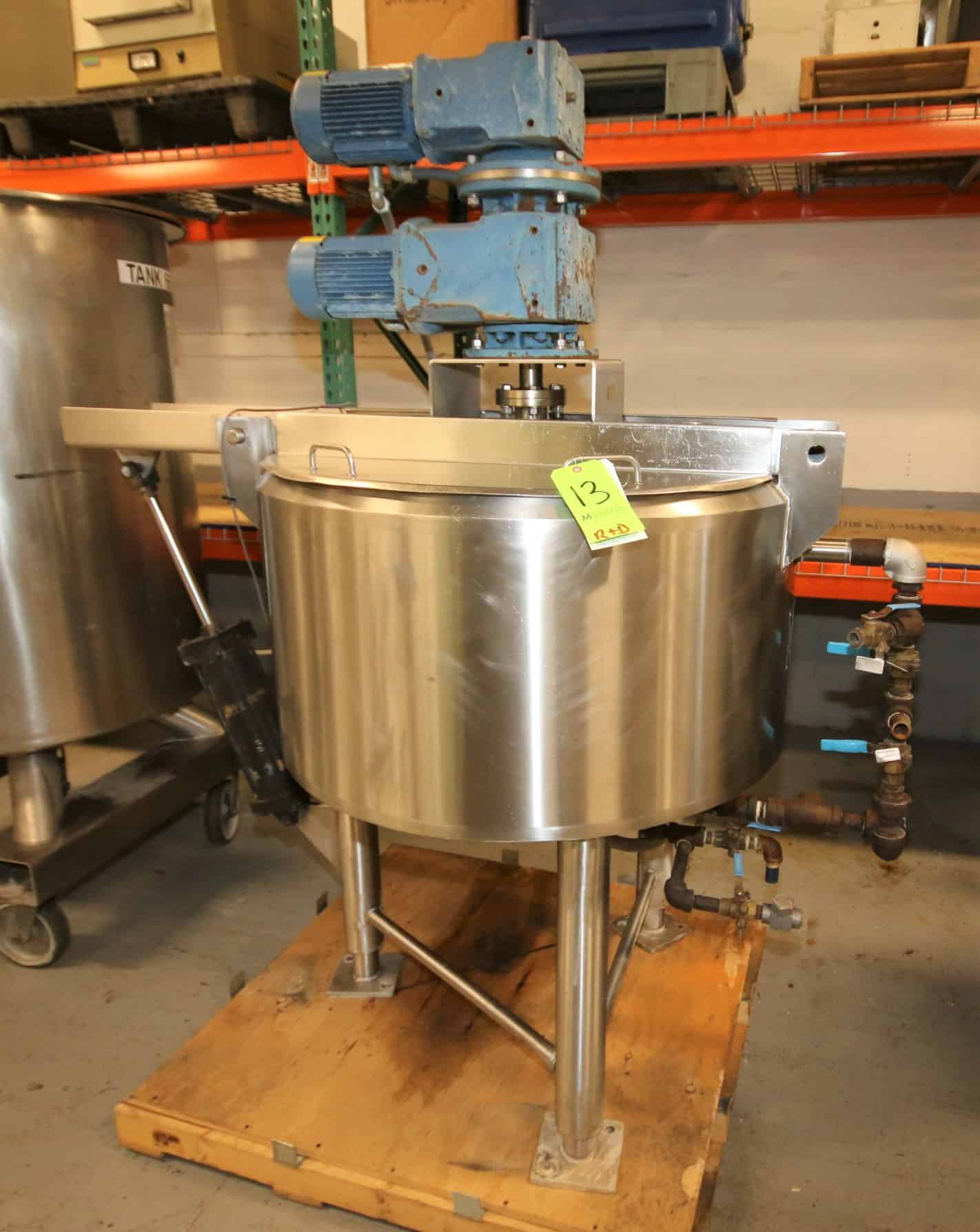 "Cherry Burrel Aprox. 75 Gal Hinged Lid S/S Processor / Kettle, SN E-458-90, with Dual Motion Agitator with Scrape Surface, SEW 1 hp @ 1760 rpm Drive Motors, Pneumatic Bridge, S/S Bottom, S/S Legs, 230/460 V 3 Phase, max working psi 150 psi @ 400 degree F, (Overall Diam. - 66"" W x 78"" H)"