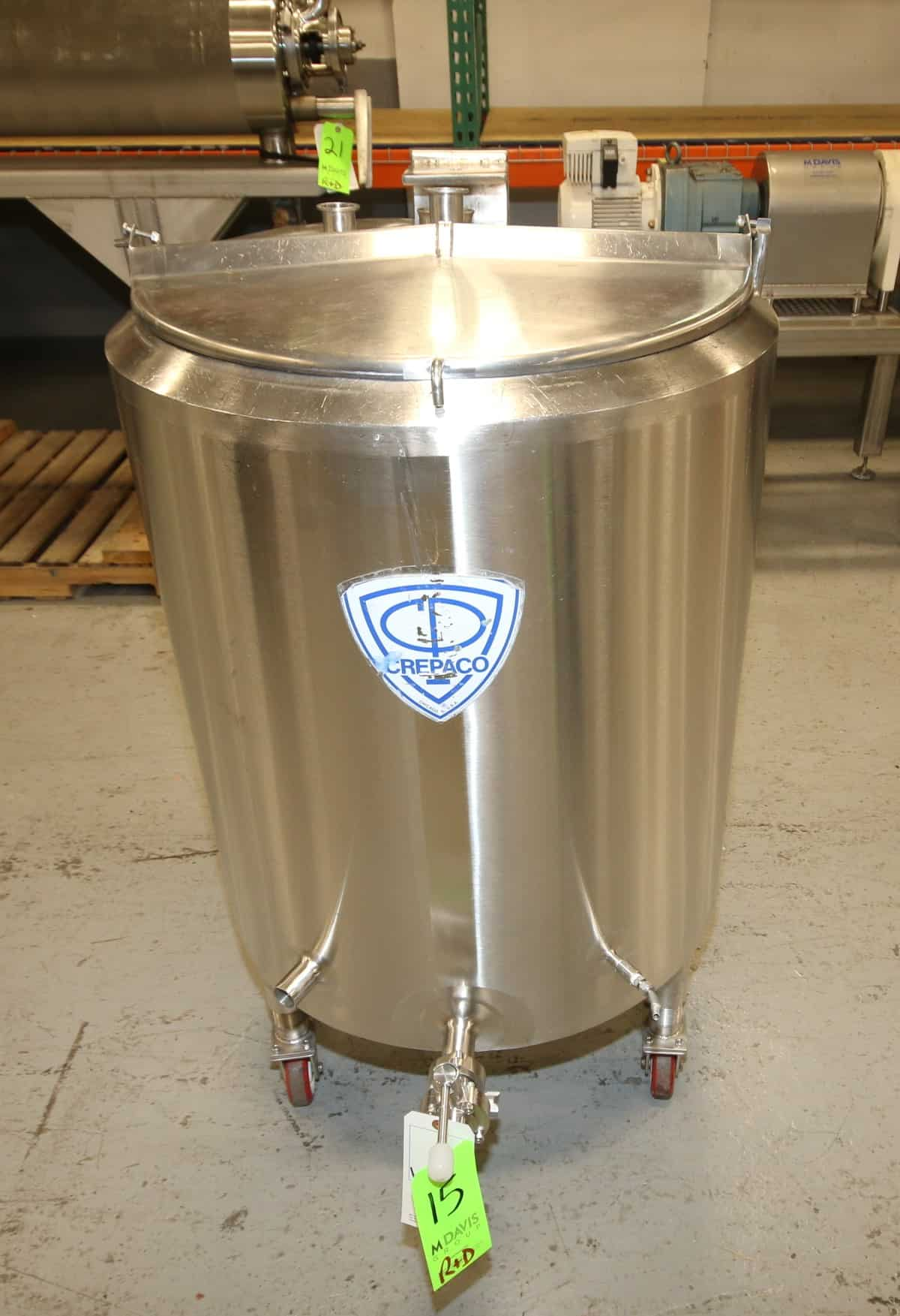 "APV Crepaco Aprox. 50 Gal. Jacketed Hinged Lid S/S Tank, SN D-118, Mounted on Casters, Equipted with 3/4 hp Top Mounted Agitator, Bottom Side Mounted Butterfly Valve, 75 psig Jacket 315 degree F, (Overall Diam. 28"" W x 50"" H)"