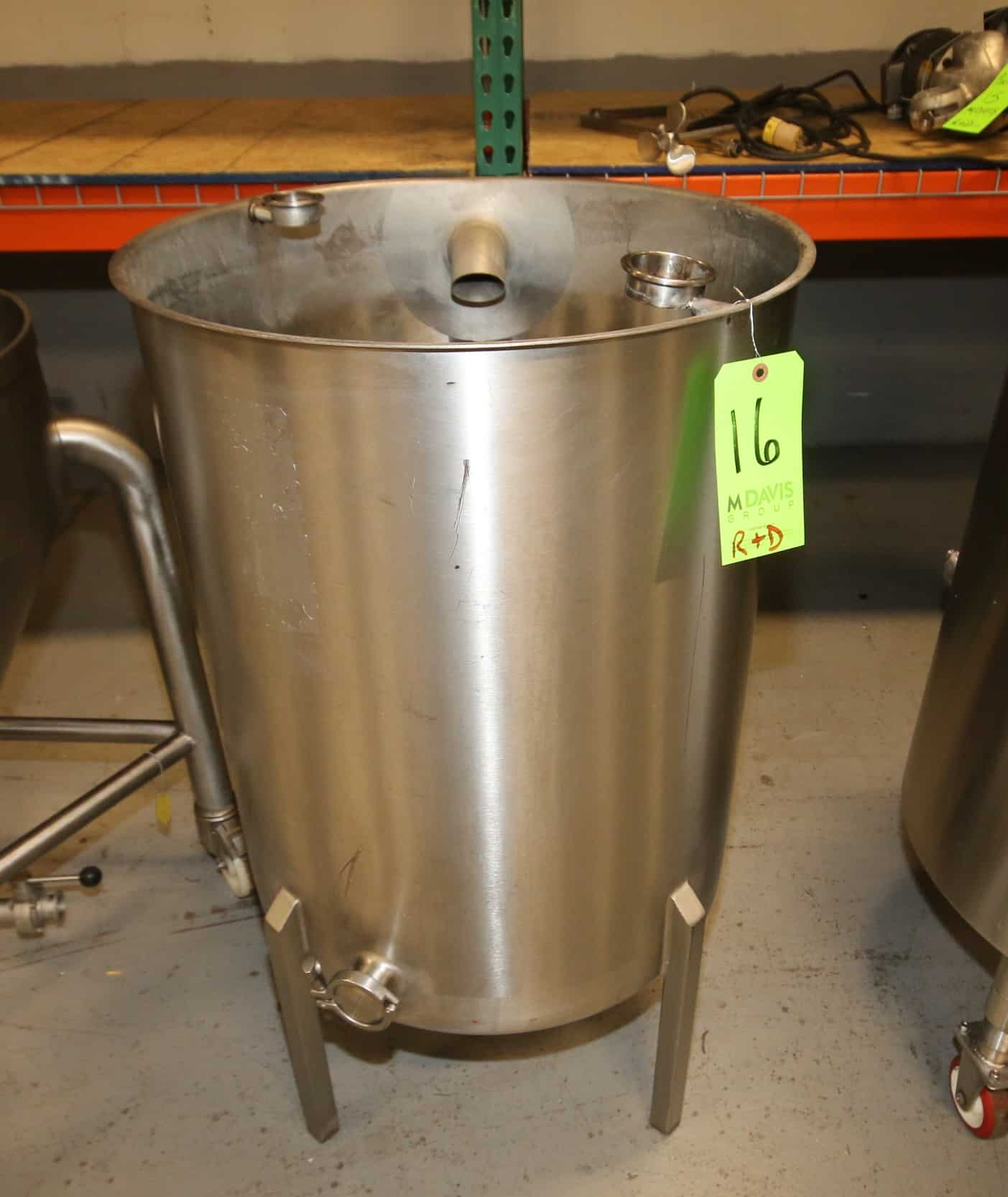 "Aprox. 60 Gal. Single Wall S/S Tank, Open Top, 2"" Bottom & Side Clamp Type Connections, (CIP Tank), (Overall Diam 25"" W x 42"" H)"
