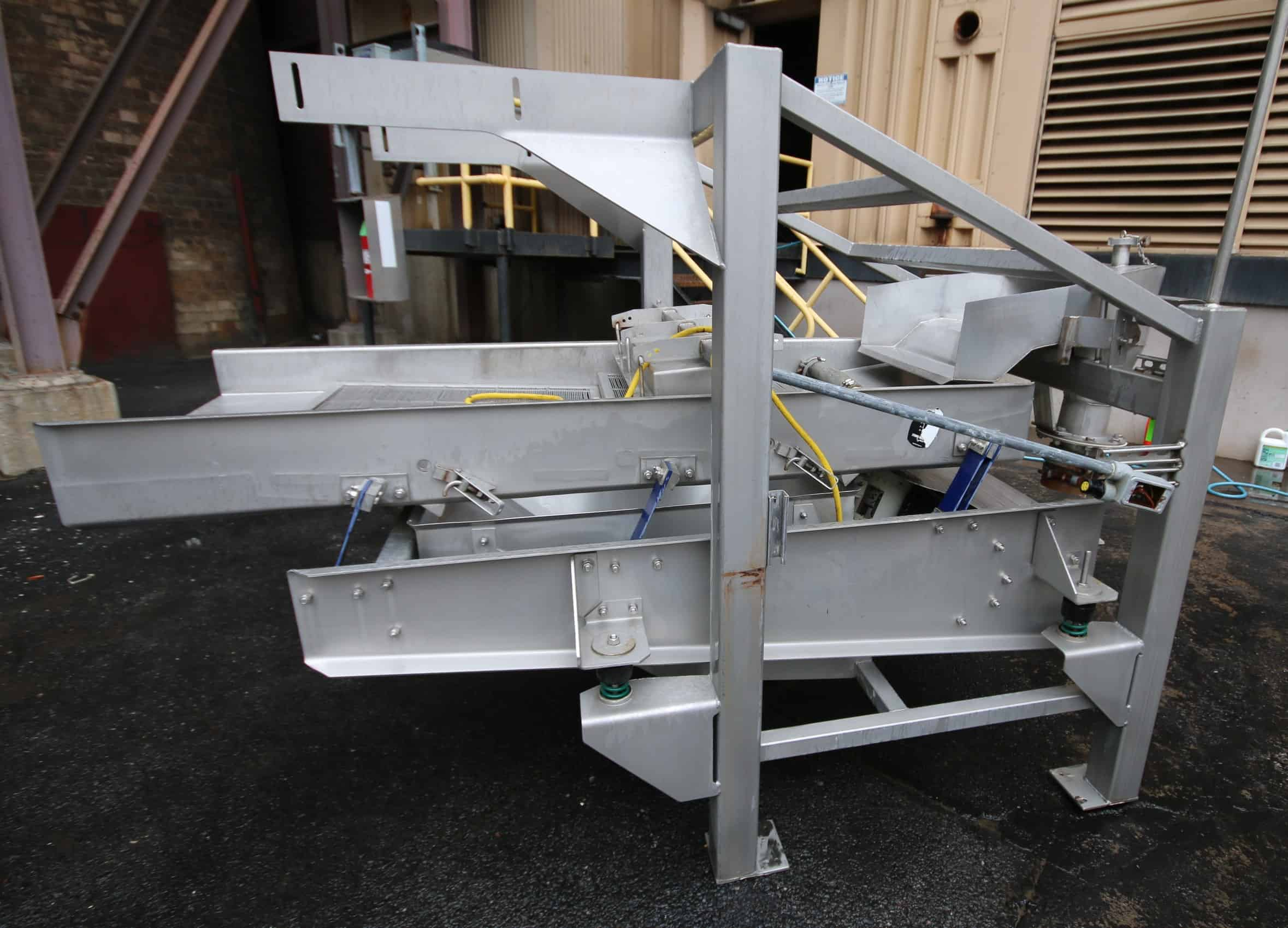 "(2) Key 7 ft L x 30"" W All S/S ISO - FLO Vibratory Dewatering / Fines Removal / Shaker Conveyor, with 2 - Levels with (2) S/S Screens, Mounted on 24"" H S/S Frame, Includes Bottom Mounted S/S Drain Hopper Add to Discription - Top Mounted Magnetic"