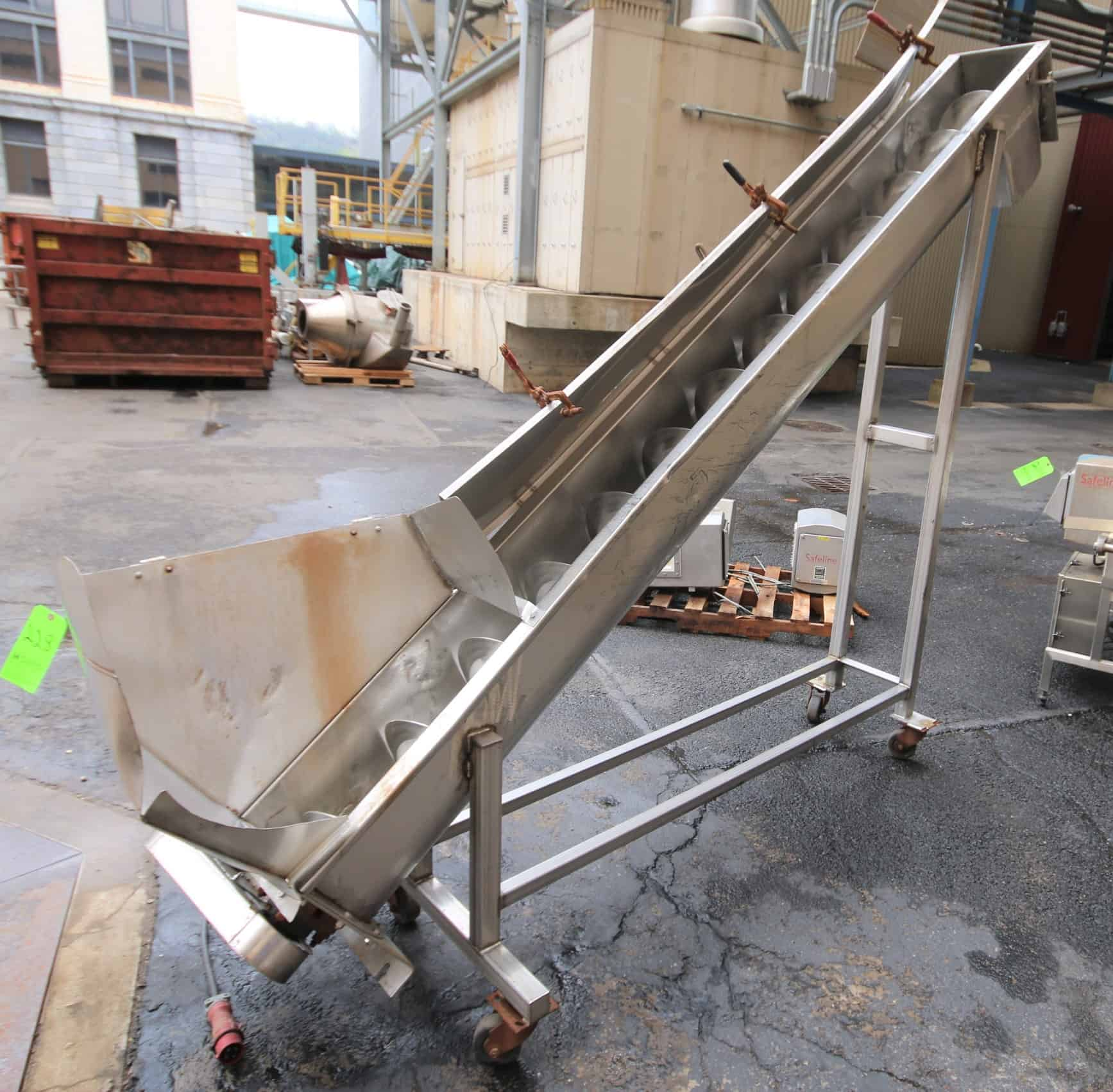 "10 ft L Portable Inclined S/S Power Auger Conveyor, with 8"" S/S Auger, Electric Drive Motor"