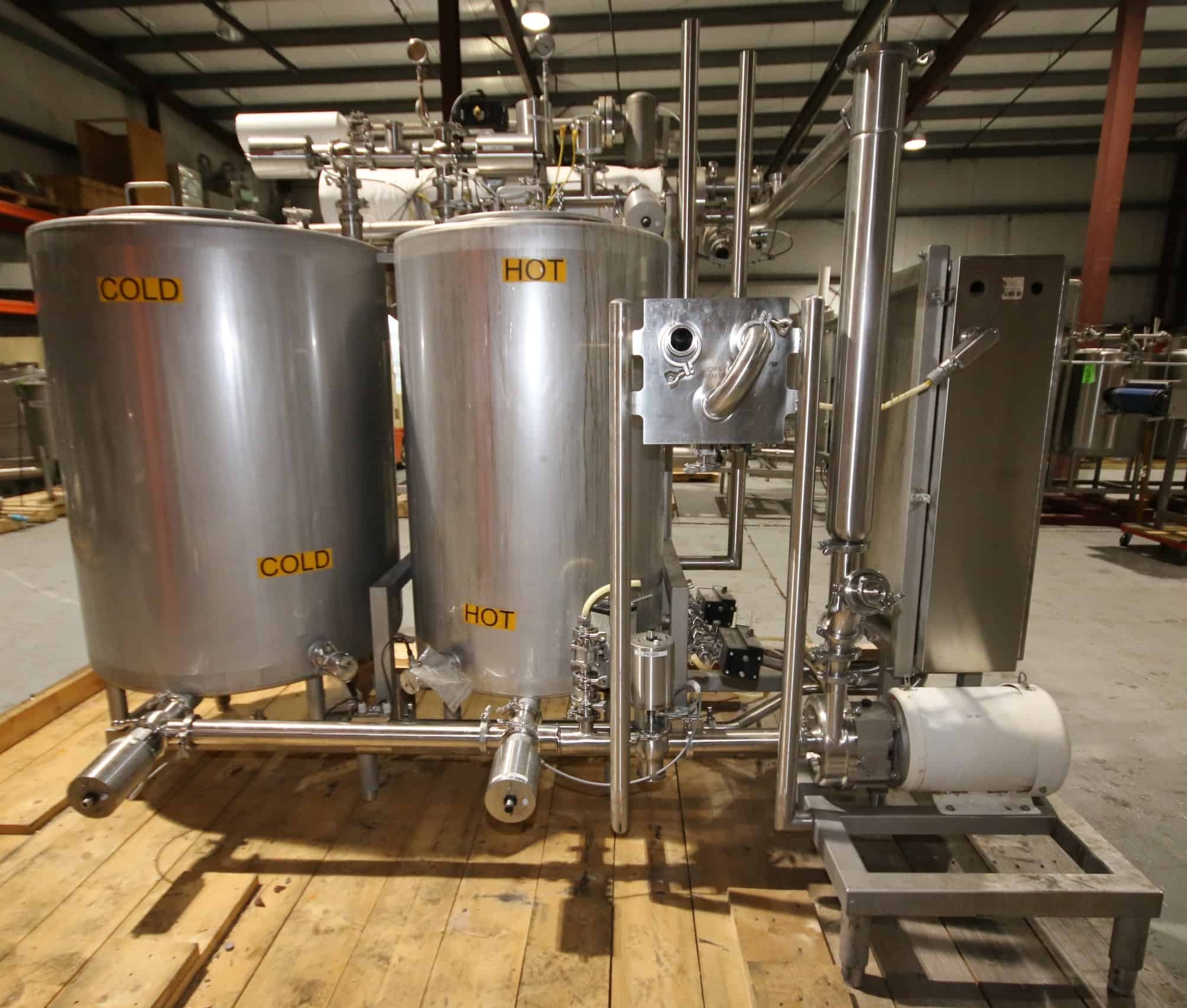 "2011 Skid Mounted 2-Tank S/S CIP System, with Aprox. 230 Gal. or 48"" H x 38"" W Tank, 140 Gal. or 46"" H x 30"" W Tank, 50"" L x 8"" W S/S Shell & Tube Heat Exchanger, Anderson In-Line Flow Meter with Read-Out, 10 hp / 3525 rpm Centrifugal Pump, (8) Alfa Laval S/S Air Valves, Check Valves, Pneumatic Ball Valves, In-Line Filter, Level Sensors, Pressure Sensors, On-Board Control Panel with Allen Bradley Panelview 1000 Display & Solenoid Valves, (CIP Overall Diam. 112"" L x 80"" W x 93"" H)"