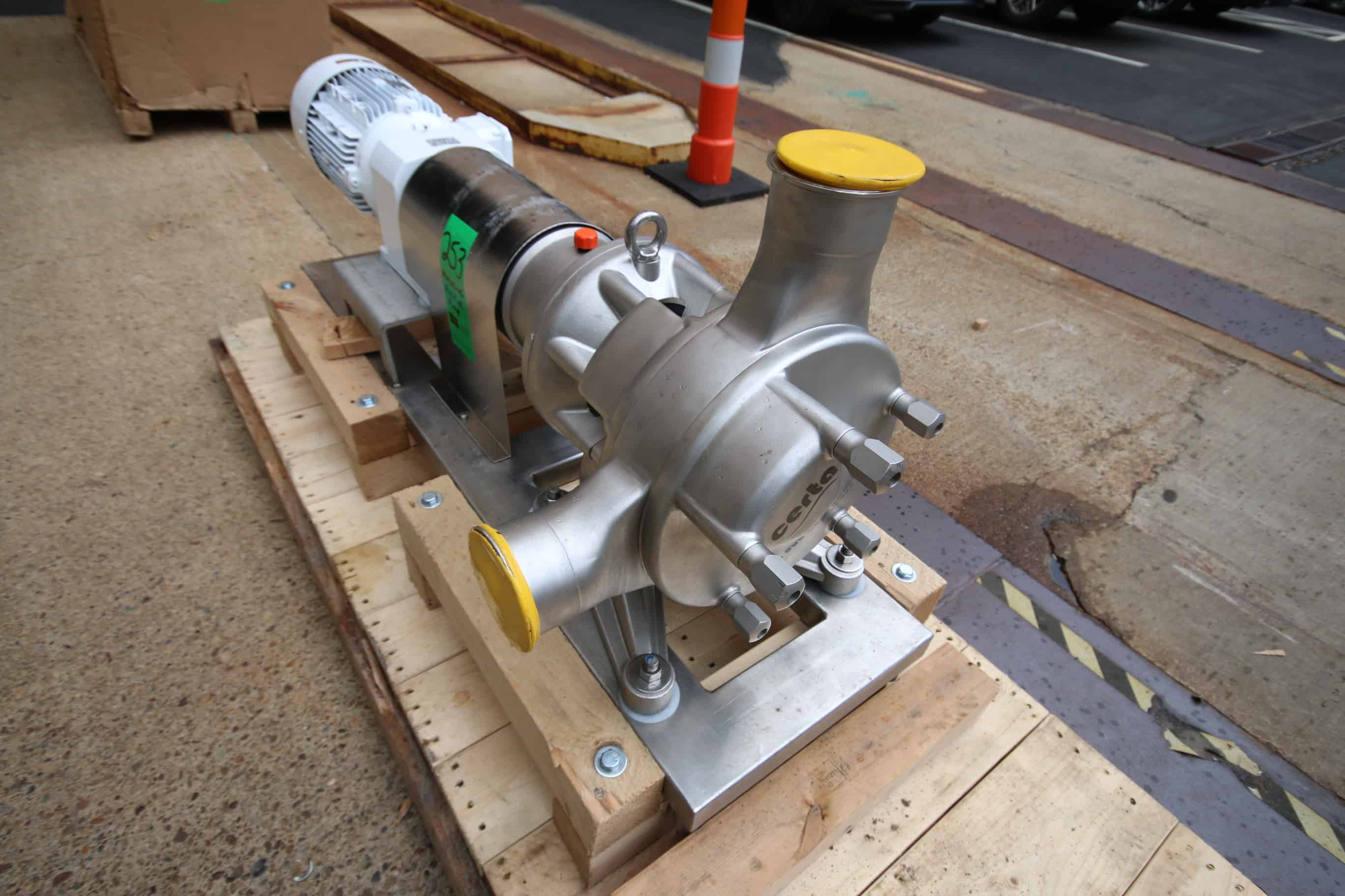 "(2) New Masosine Positive Displacement Pump, Type Certa 500, S/N 170613-0440 & 41, with 4"" x 4"" Clamp Type S/S Head, Nord Drive Motor 10 hp / 1765 RPM, 230/460V 3 Phase, Mounted on S/S Frame– Paid Over $25,000 Each New!!"