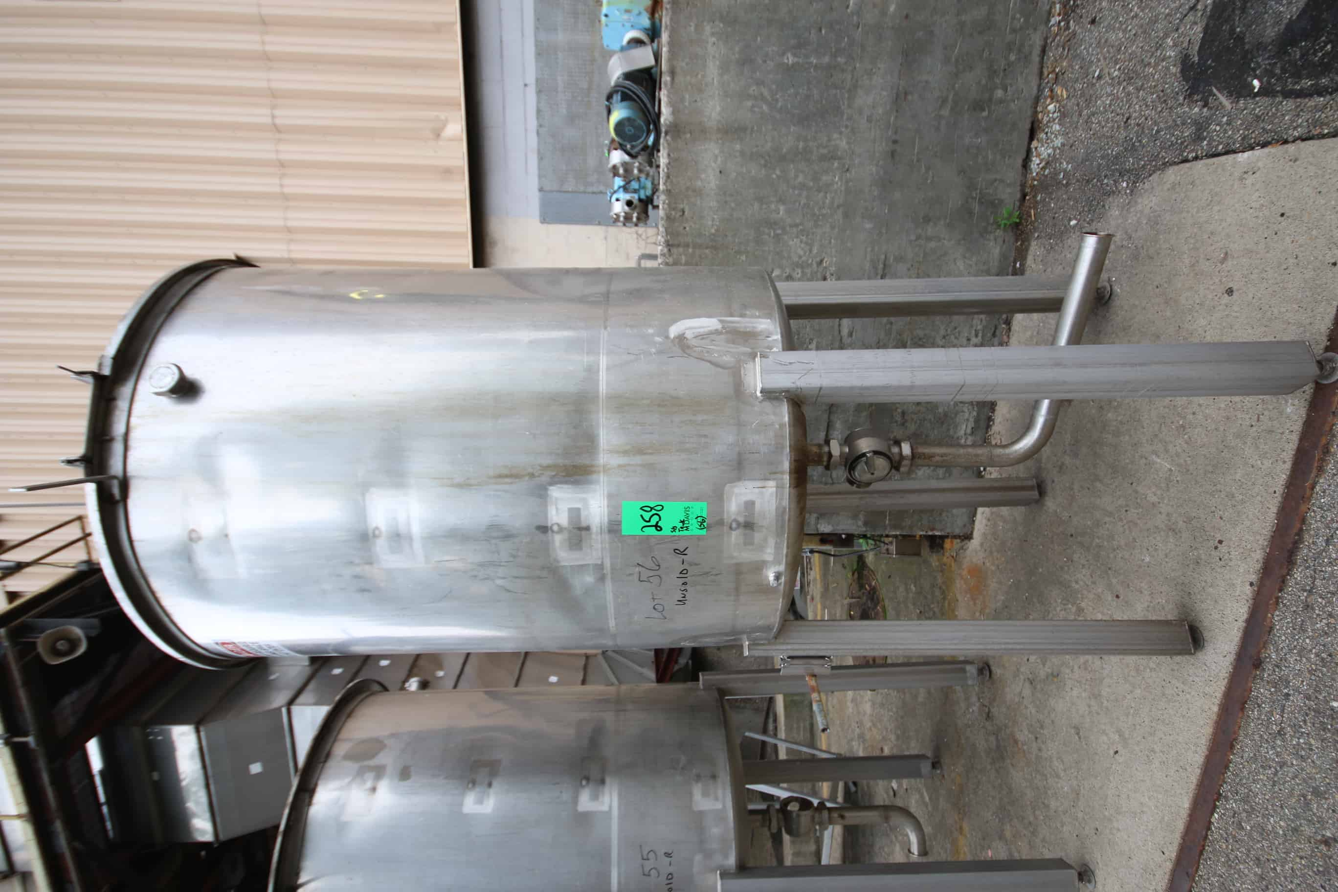 "500 Gal Vertical Single Wall S/S Tank with Hinged Lid, S/S Legs, Rosemont Level Sensor with Bottom Plug Valve, (Tank Dimension ~65"" H x 48"" W)"