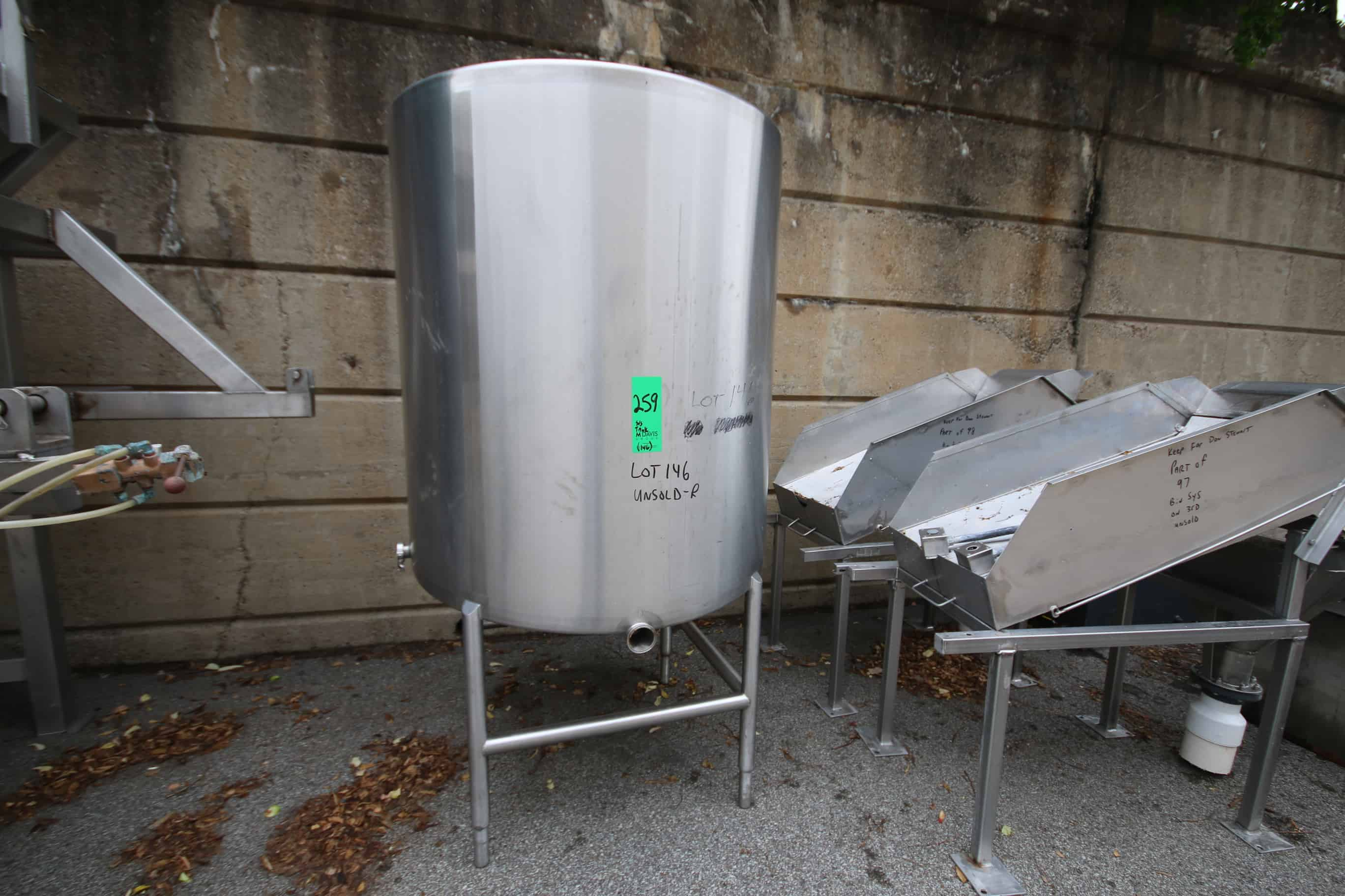 "500 Gal Vertical Single Wall S/S Tank with Hinged Lid, S/S Legs, Rosemont Level Sensor, (Tank Dimension ~85"" H x 42"" W),"