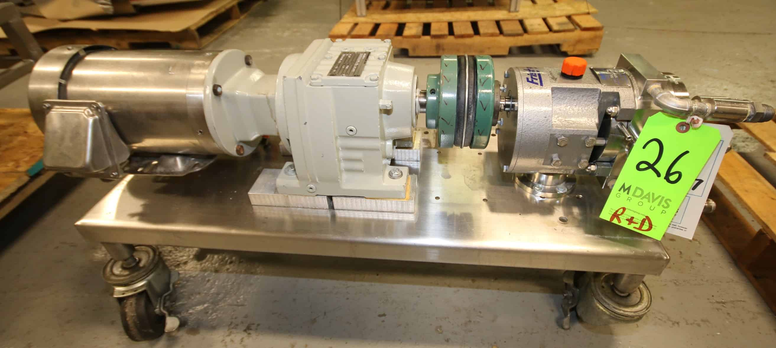 Fristam Positive Displacement Pump, Model 58S, SN 0601713, with Jacketed Head, 1.5 Clamp Type Connections, Includes Rotors, SEW / Dayton Drive Motor 3/2 hp / 3450/2850 rpm S/S Clad Motor, 208/230/460V 3 Phase, Mounted on S/S Frame with Casters