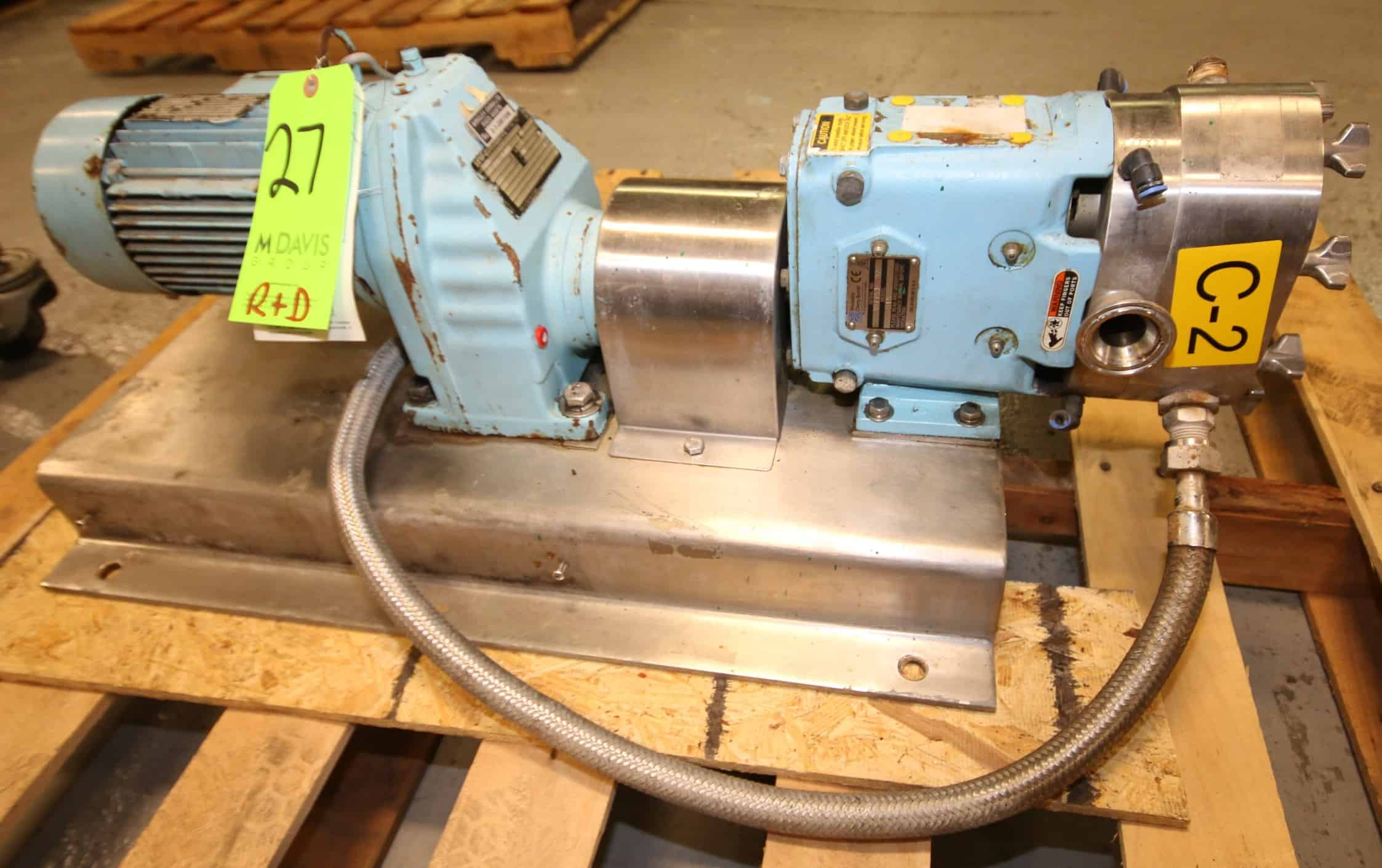 Waukesha Positive Displacement Pump, Model 015, SN 307753 02, with Jacketed Head, 1.5 Clamp Type Connections, Includes Rotors, SEW Drive Motor 075 KW, 220/380 V, Mounted on S/S Frame