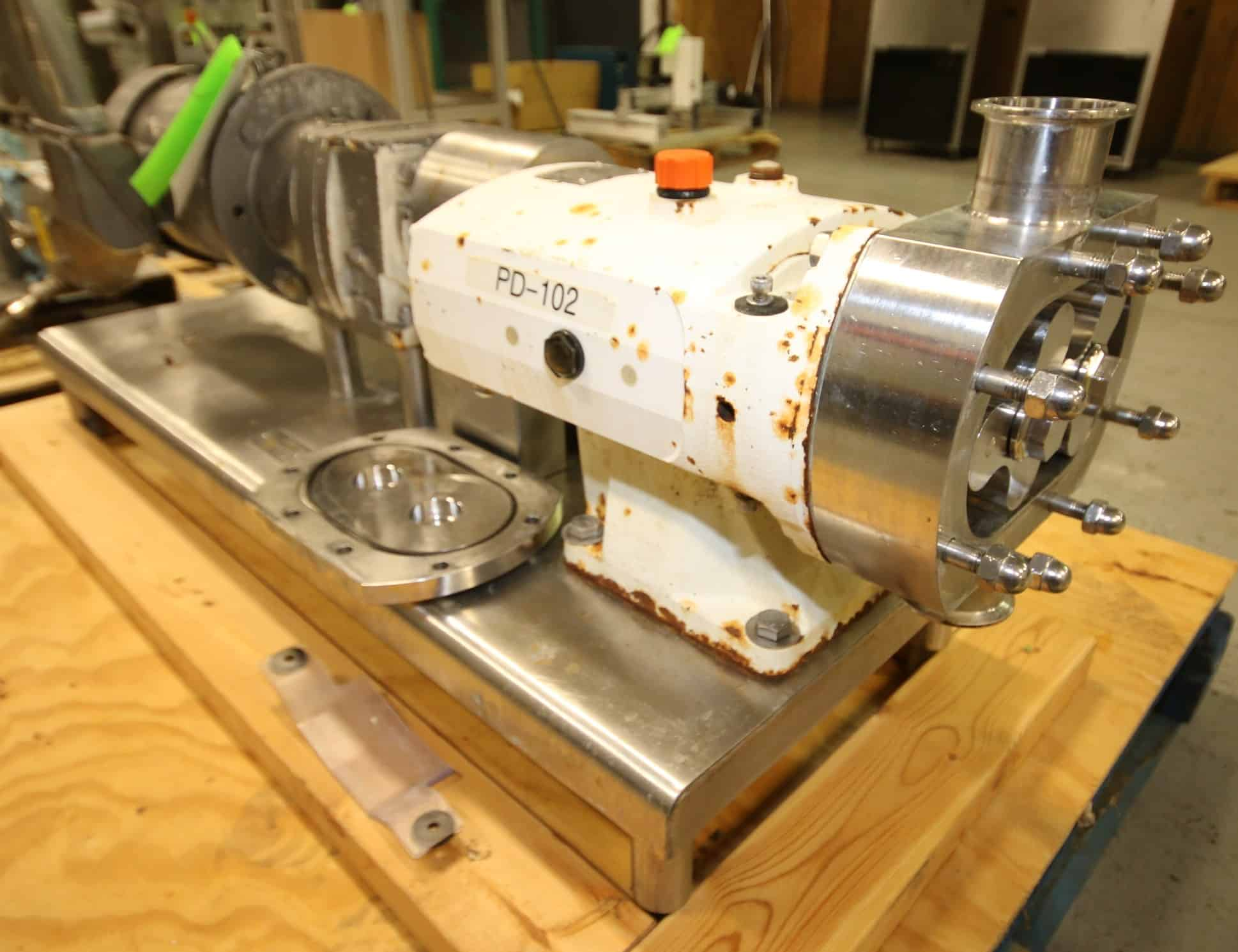 "2011 Alfa Laval Positive Displacement Pump, Model SRU3/039/HD, SN 856398A, with 2"" Clamp Type Connections, Includes Rotors, Sterling 3 hp / 1760 rpm Drive Motor, 208/230/460V 3 Phase, S/S Frame"
