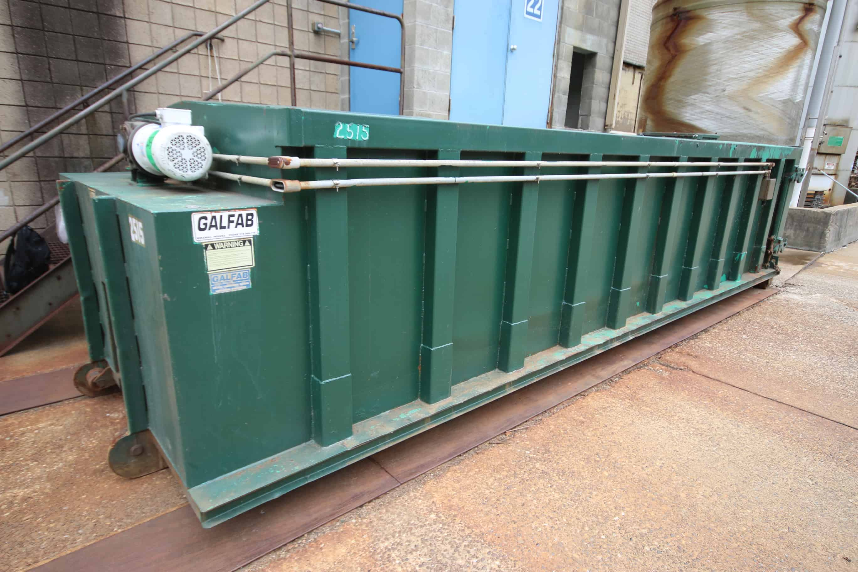 "Galfab 20 Cubic Yard Enclosed Waste Container, Model OS2244, SN 2515, with Top Mounted Hinged Door &Top Mounted Power Auger, (Box Diam. 22 ft L x 7 ft W x 64"" H) (Rebuilt 2017)"