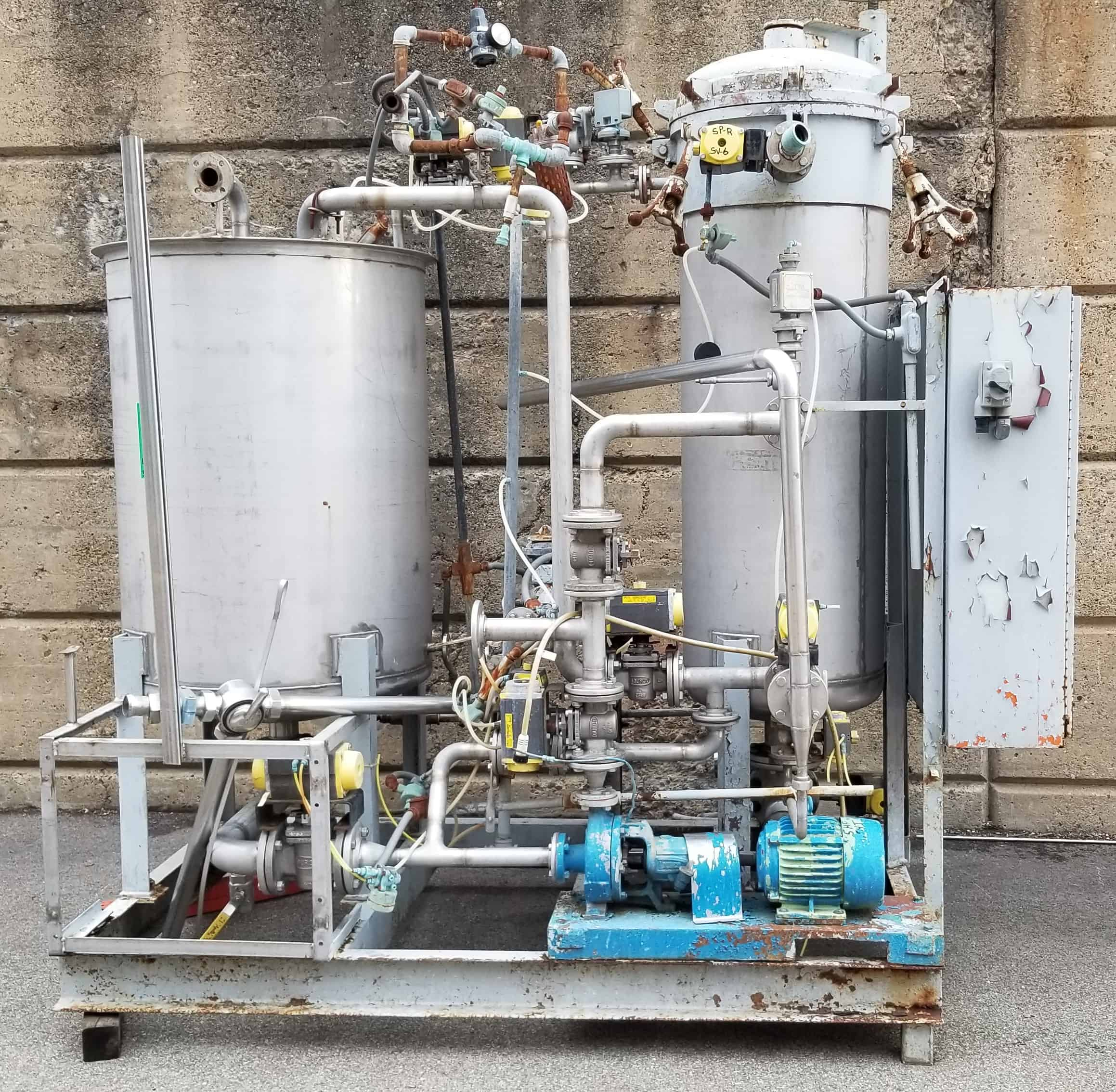 "Skid Mounted Tank System with 50"" H x 36"" W Open Top S/S Tank, Durco 68"" H x 24"" W Tank 75 psi @ 250 degrees, S/N E14251, Durco Centrifugal Pump, Madden Chemical Pump, Related Valves, Piping & Controls"