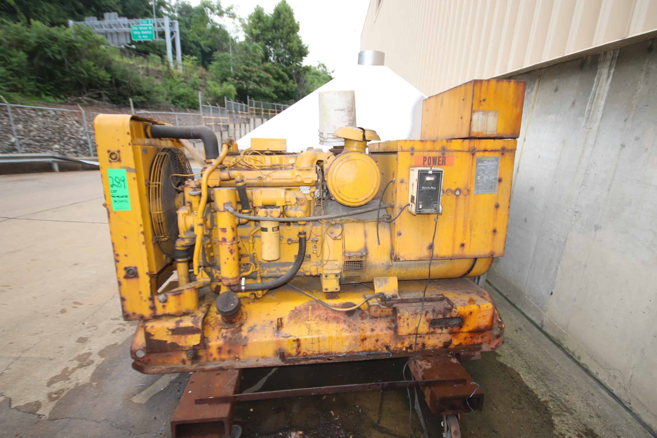 Caterpillar 3304 - 131 KVA Portable Diesel Generator, Model SR4, 1800 RPM, 105 KW, Engine SN 4B 14177, Mounted Steel Skid with Casters, (Former Back up for Vinegar Room)