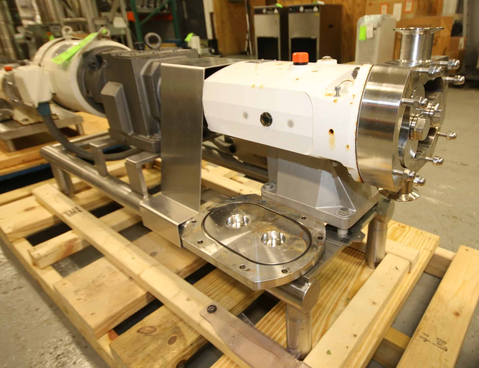 "2016 Alfa Laval Positive Displacement Pump, Model SRU4/055/HS, SN 147160, with 2 1/2"" Clamp Type Connections, Includes Rotors, Dodge / Sterling 7.5 hp / 1770 rpm Drive Motor, 208/230/460V 3 Phase, S/S Frame"