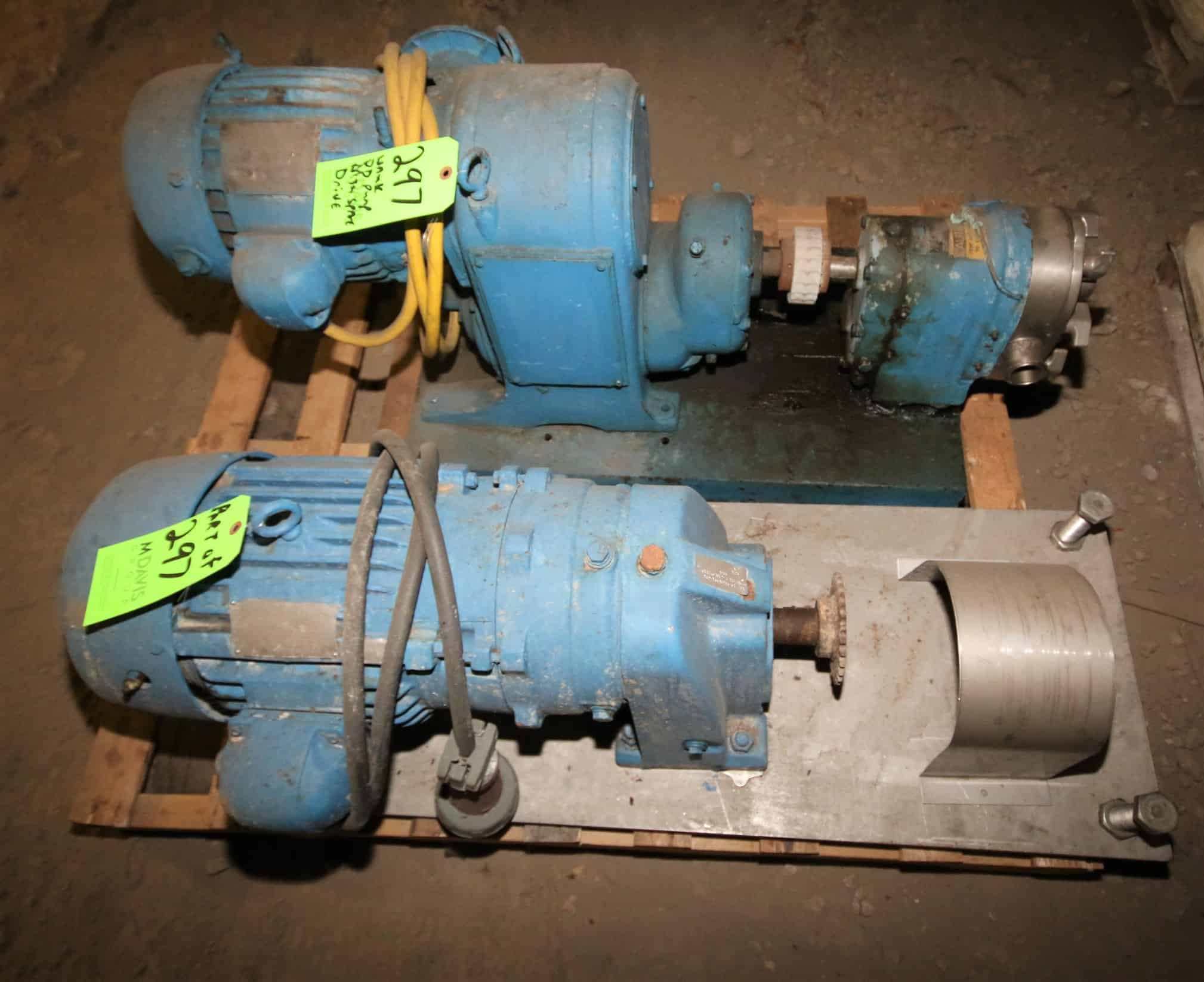 "Waukesha Size 25 Positive Displacement Pump, with 1.5"" Clamp Type S/S Head & Variable Speed Drive, Also Includes Spare Variable Speed Drive Mounted on S/S Frame"