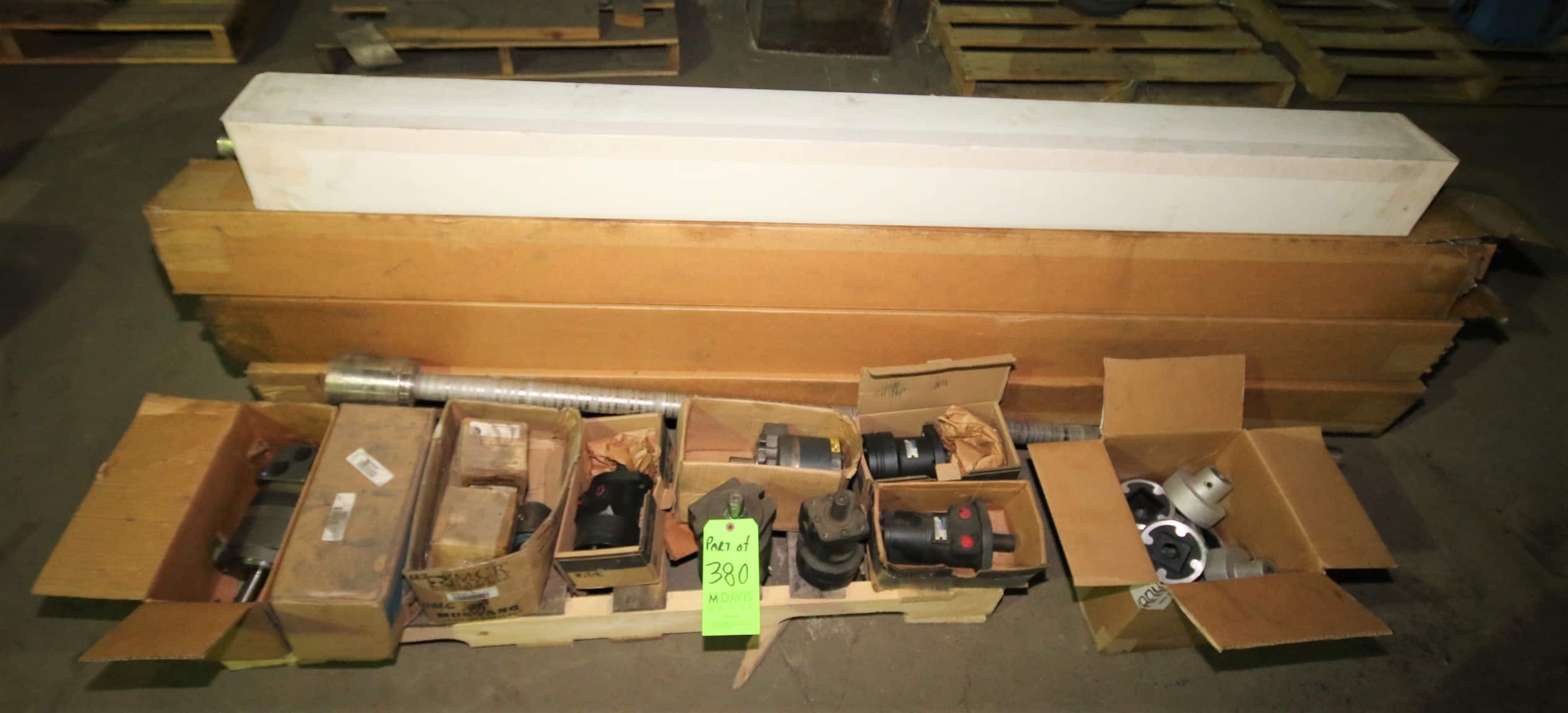 "2 Pallets - New & Used Lyco & Vanmark Peeler Parts Including 70"" & 80"" Brushes, Hydraulic Parts & Etc"