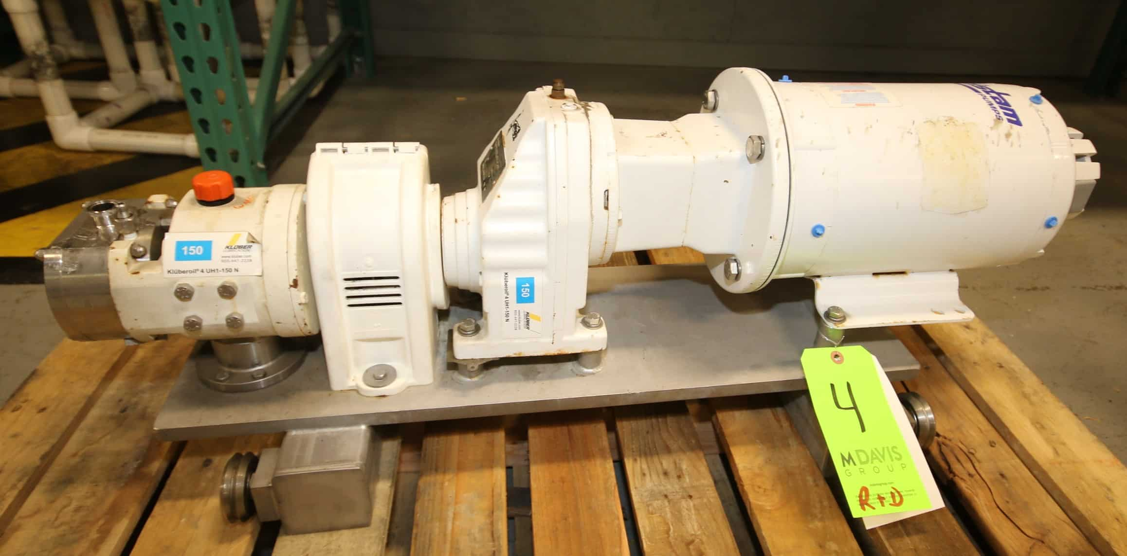 "Fristam Positive Displacement Pump, Model FL2 15, SN 0710932, with 1"" Clamp Type S/S Head, with Aprox. 3 hp Drive Motor, Mounted on S/S Track Frame"