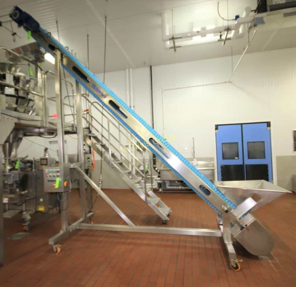 "2010 Weighpack 168"" H S/S Inclined Conveyor with 16"" W Belt with Flights, Arpin Feed and IG5 VFD Controls"