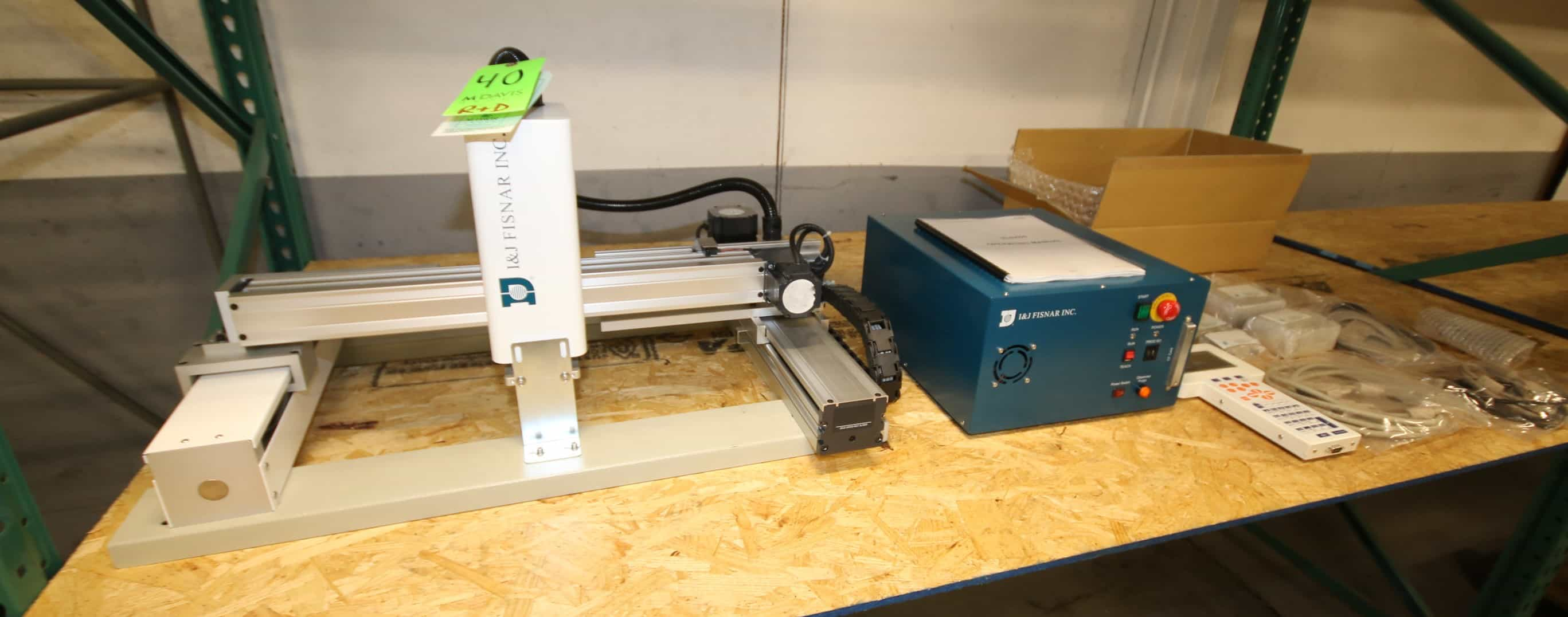 I & J Fisnar Inc Benchtop Robot Dispenser, Model I&J6431, SN 169.004, with X, Y & Z Axis, Includes Control Tower with Hand Held Controller & Accessory, 115V, Includes Manual