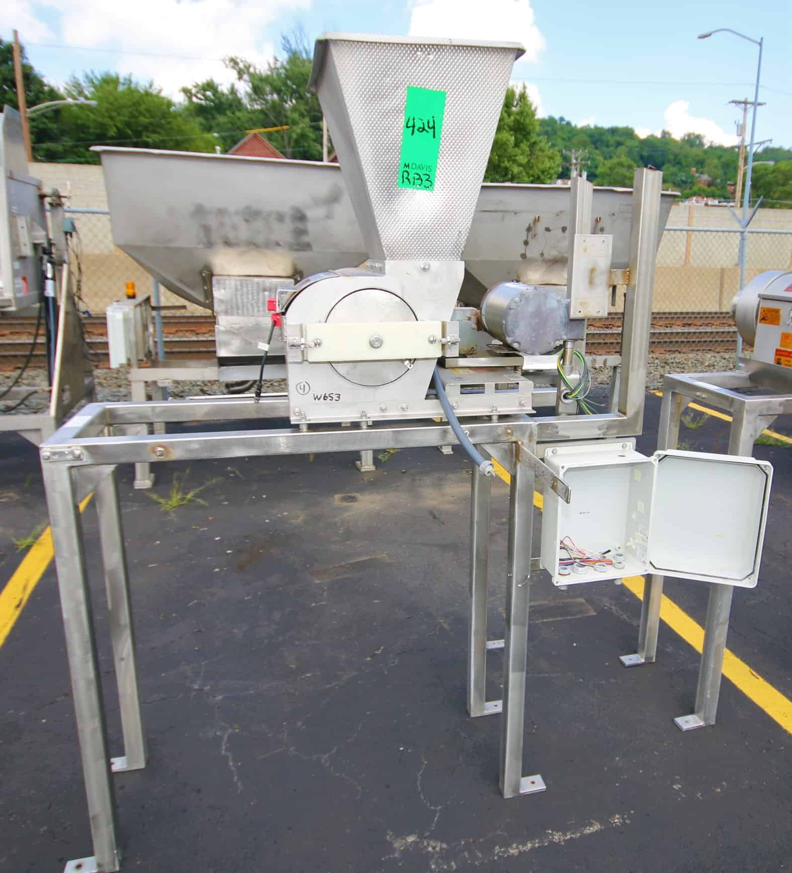 "(3) Key 12"" L x 7"" W Powerered S/S Rotary Valve / Airlocks, Model 4174 with 18"" L x 16"" W S/S Feed Hopper, Mounted on S/S Frame"