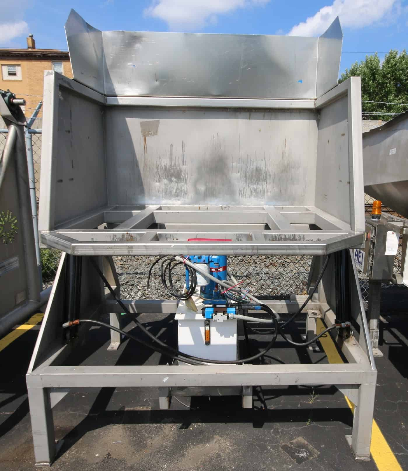 "(3) Vanmark All S/S Hydraulic IQF Tote Dump System, with 54"" L x 48"" Deep x 39"" & 44"" H Dump Area, On-Board Self Contained Hydraulic System with Control Box & Controllers"