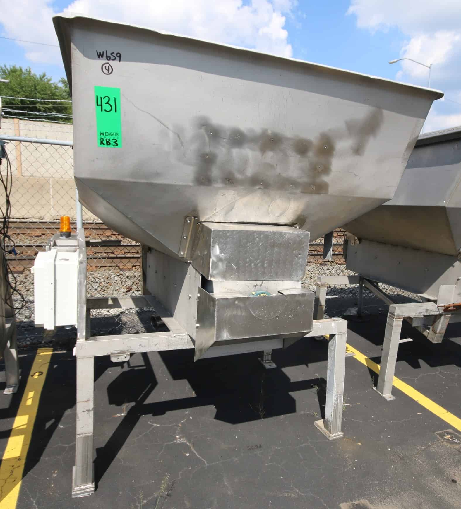 "(2) 92"" L x 60"" W x 46"" D S/S Auger Feed Hopper with 14"" S/S Bottom Powered Auger with SEW Drive Motor, Bottom Dowcharge Chute, S/S Frame & Control Box, (Overall Diam. 6 ft W x 8 ft L x 79"" H)"