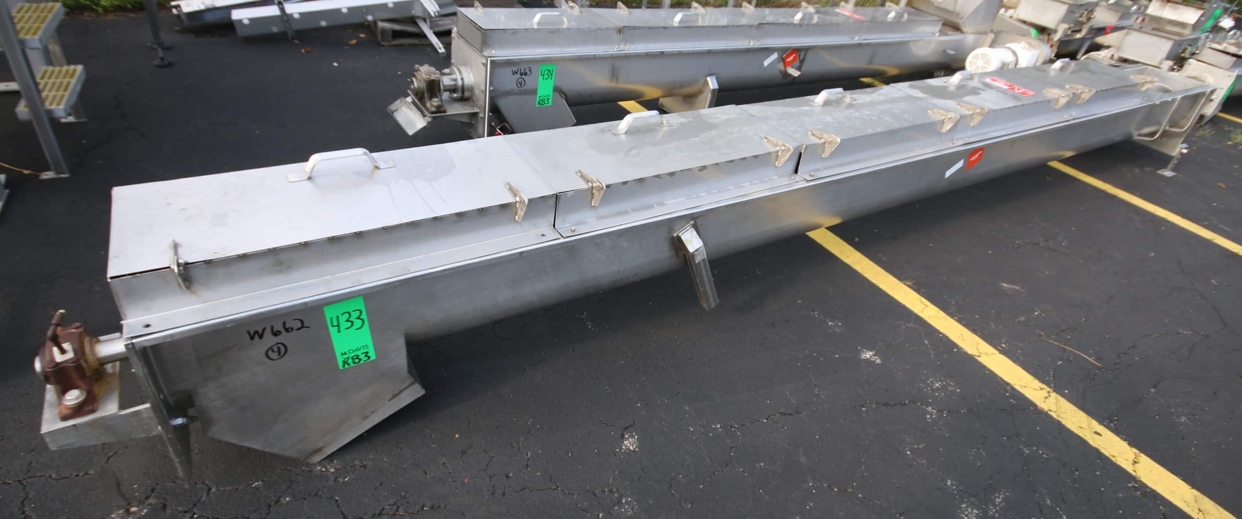 "18 ft L All S/S Power Auger Conveyor, with 12"" S/S Auger, 5 hp / 3450 rpm Drive Motor, 208/230/460 V 3 Phase, with Top Mounted Hinged Covers with Screened Guards, 13"" x 13"" Bottom Discharge"