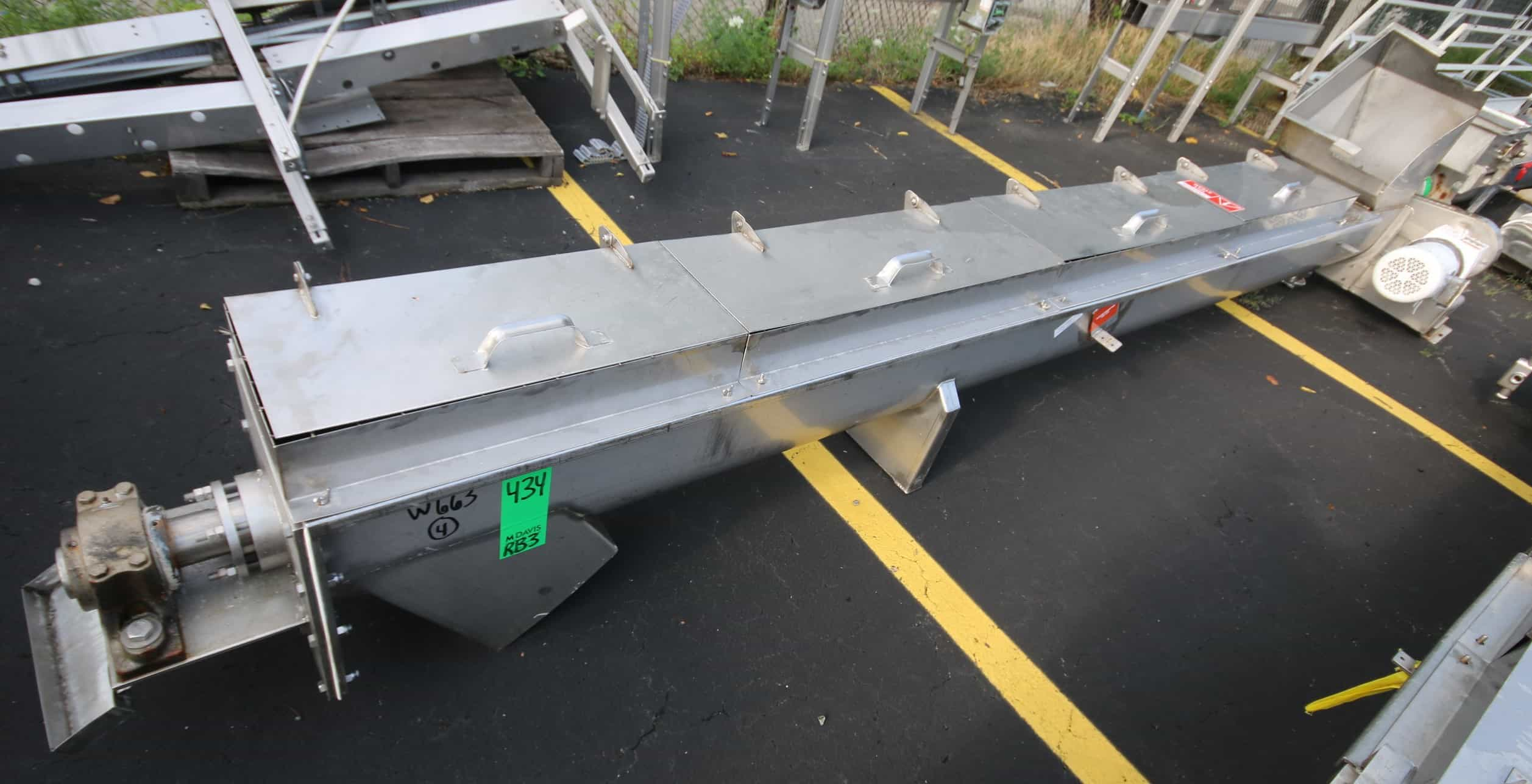 "14 ft L All S/S Power Auger Conveyor, with 12"" S/S Auger, 5 hp / 1720 rpm Drive Motor, 208/230/460 V 3 Phase, with Top Mounted Hinged Covers with Screened Guards, 15"" x 14"" Top Mounted Hopper, 13"" x 13"" Bottom Discharge"