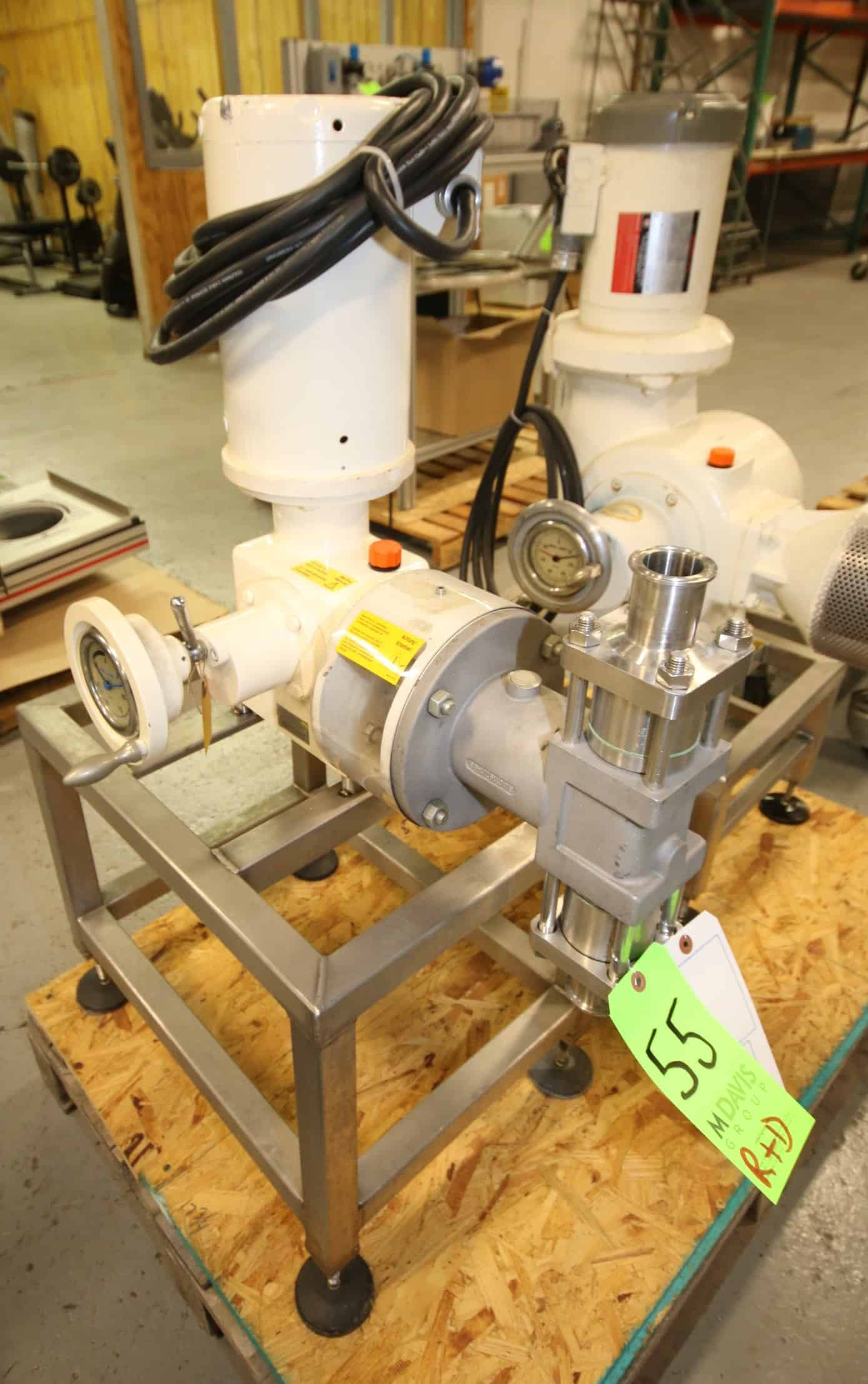 "Bran - Lubbe Metering Pump, Type N-K 31, SN 51 500228 1000, with 1.5"" Clamp Type Connections, Baldor 1.5 hp / 1725 rpm Drive Motor, 208/230/460V 3 Phase, Mounted on S/S Frame"