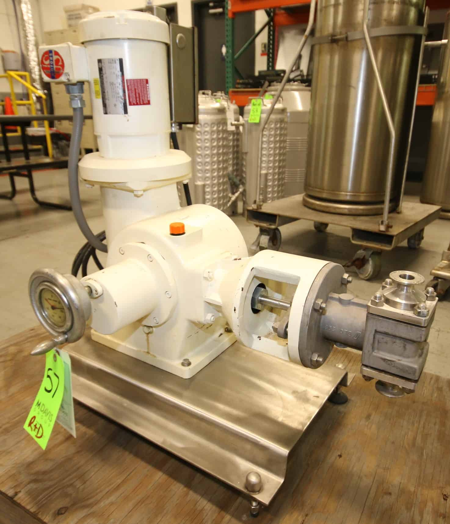 "Bran - Lubbe Metering Pump, Type N-D431, SN A9275, with 1.5"" Clamp Type Connections, US Motors 2 hp / 1725 rpm Drive Motor, 230/460V 3 Phase, Mounted on S/S Frame with Square D Switch"