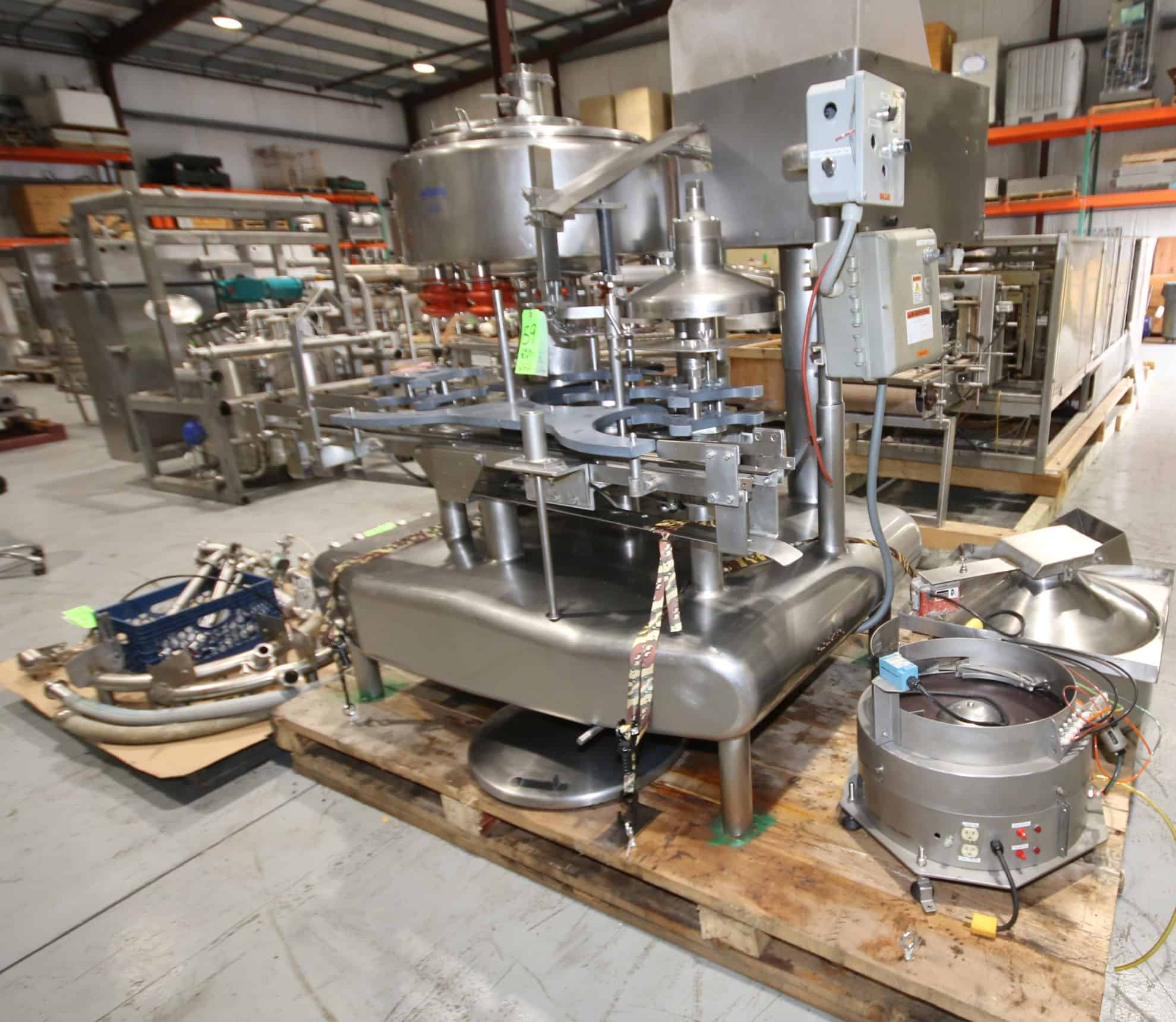 Federal 12 - Valve Rotary S/S Filler, SN 1562GWS2/124R930, Monobloc Style with 4 - Station Press on Capper, Includes Vibratory Cap Feeder with Feed Rail, Set - Up with Plastic Square Gallon HDPE Bottle Change Parts, Includes Rubbers & Valves, Float Assembly & CIP Rings