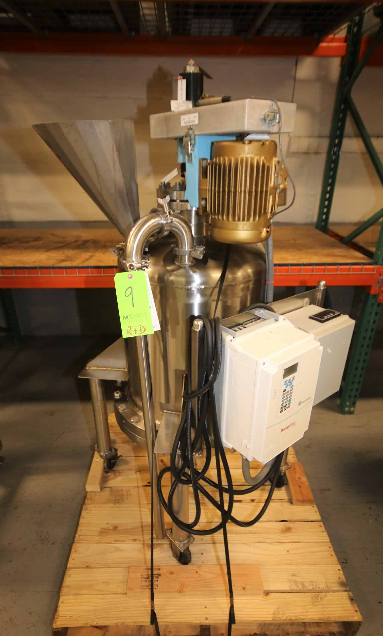 "Watson / OCS Aprox. 30 Gal. Portable Pressurized S/S Reactor Tank, SN 2342-2, MAWP 100 Psi @ 350 Degrees, with 1 hp High Shear Agitator, 1150 RPM, 230/460V 3 Phase, Includes Top Mounted S/S Funnel & Sight Glass, Bottom 1 1/2"" CT Discharge Line with Butterfly Valve & Allen Bradley Powerflex 70 On-Board VFD Controller"