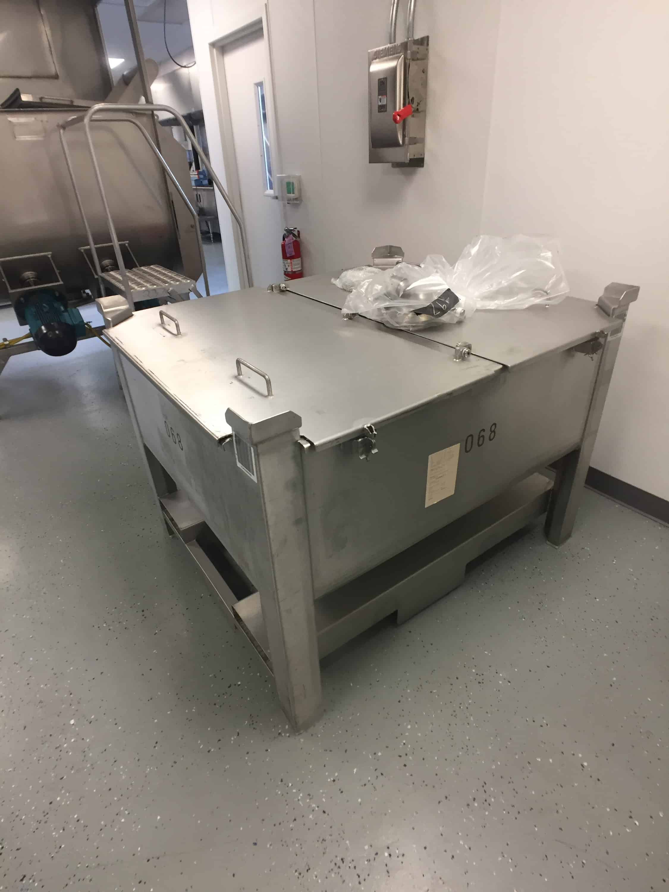 """(4) Stainless Steel Process Solutions Totes, 20 cu. Ft., Sanitary Butterfly valve, Dimensions 43""""x 49""""x37""""  Stainless Steel 25 cu ft. Portable Hopper on Casters"""