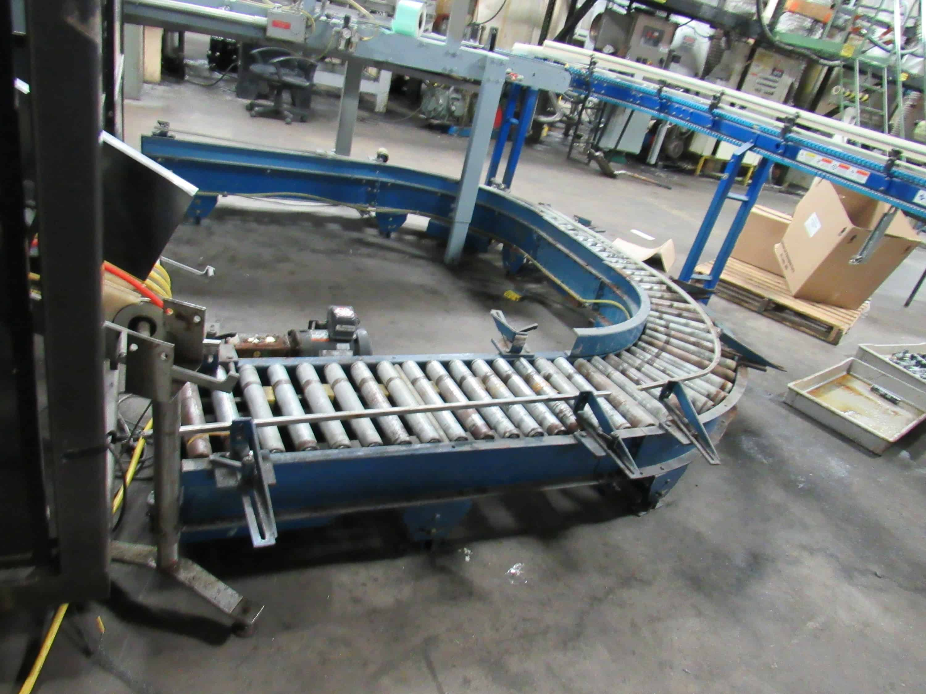 Climax Drop Case Packer with a large number of change parts – chutes, spacers and a U Shape powered roller conveyor to deliver boxes on the lower conveyor. Can adjust from 2 to 6 lanes with an air operated lane selector.  Flexible for high speed packaging of all types bottles.  It was originally used for packaging various shampoo bottles, we have used for packaging 8 OZ biobased lubricants.  It will require a flatbed truck to ship; and requires $250 loading fee as we will need to contact the loading (Located in Iowa)***EUSA***
