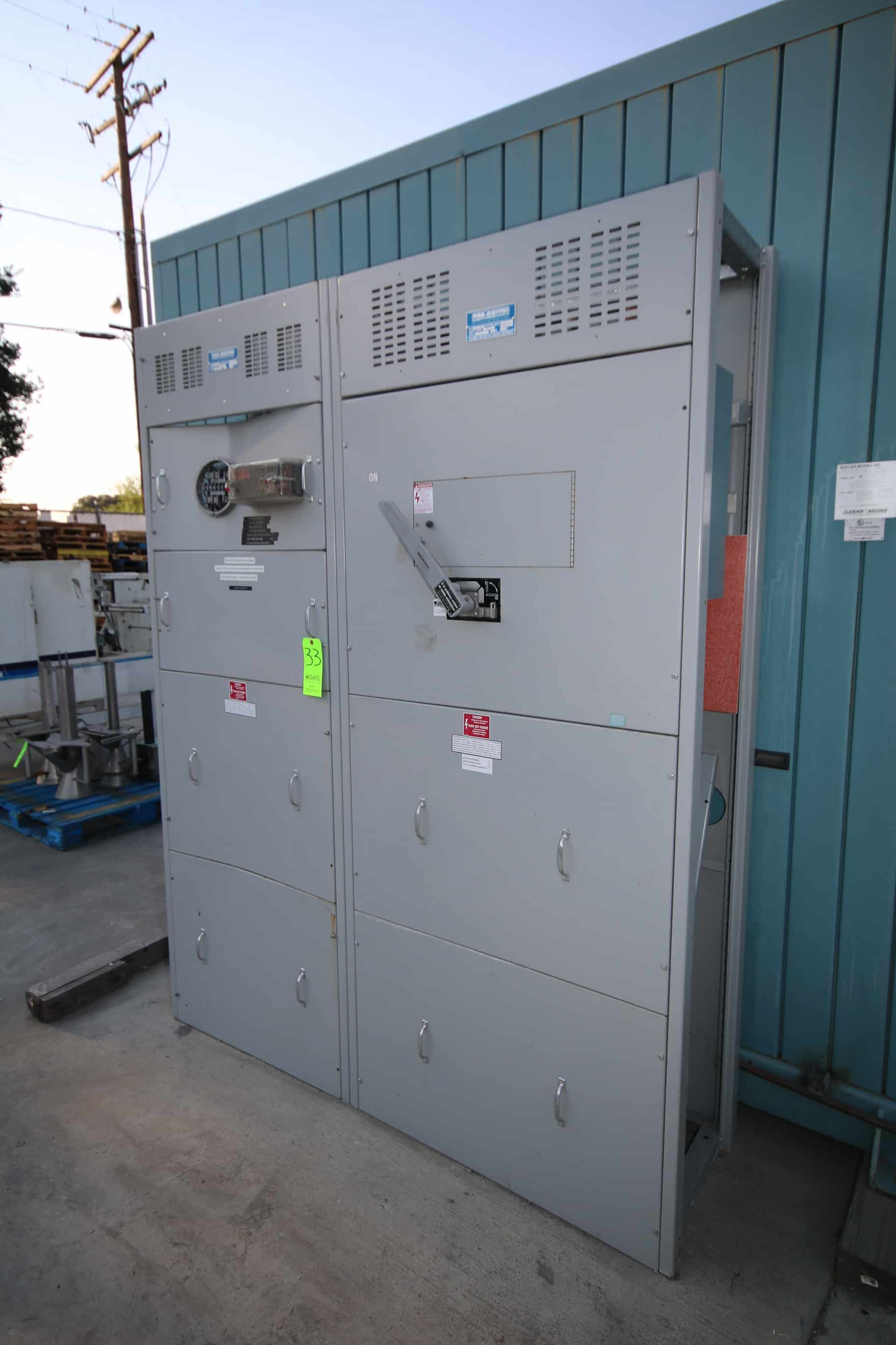 "RSE-SIERRA Switch Gear, 400 AMP Sections, 480Y/227 Volts, 23605-1 S.O., Overall Dims.:  Aprox. 70"" L x 20"" w x 90"" H"