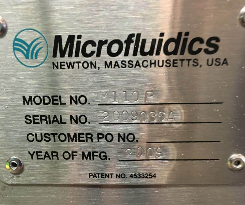 Microfluidics Microfluidizer, Model: M110P, Serial:  2009036A (Located in New York)***NYINC***