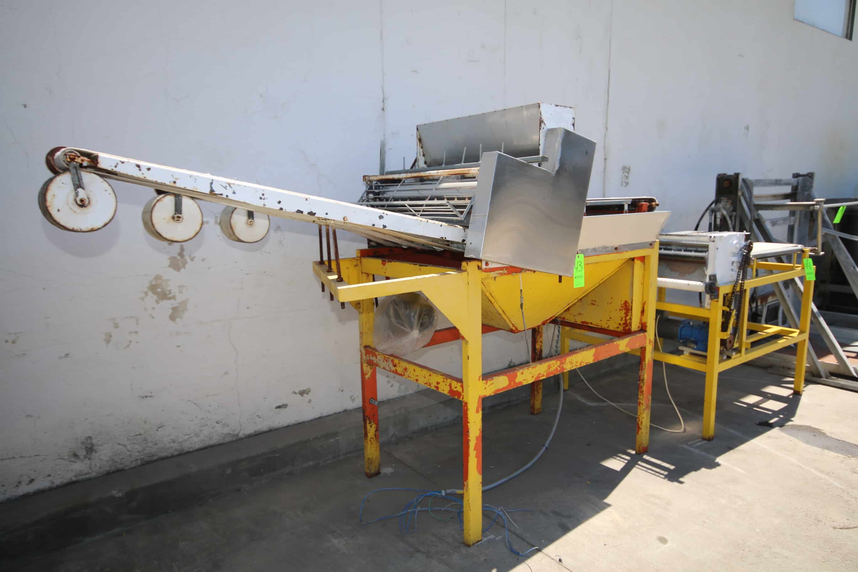 "Dough Flattener/Sheeter, with (3) Aprox. 6"" W Discharge Runs, Mounted on Steel Frame"