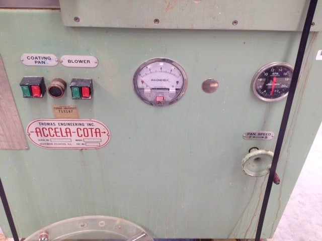 """Thomas Engineering Accela-Cota 24"""" Tablet Coating Pan. Unit features full stainless steel contact parts and Spray gun. Also, includes Teko, Thomas pump system with a Watlow 965 series temperature controller. (Located in New Jersey)***ECR***"""