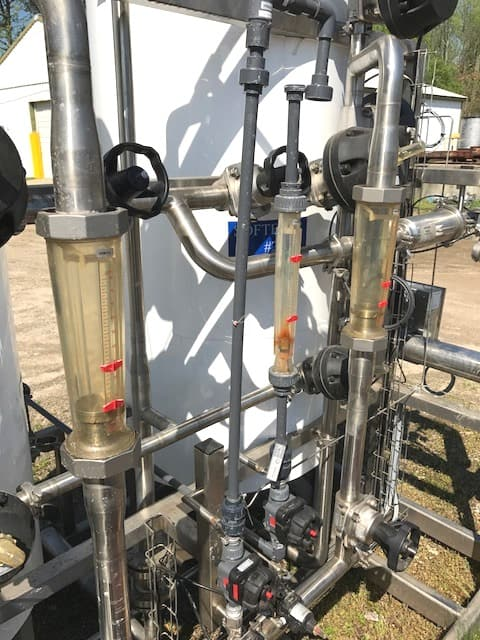 """Used UltraPure Water Treatment Skid for sale. The treatment vessels are stainless steel 100 PSI and 2'6"""" dia. X 6' straight side. The skid also includes a Aquafine UV light model HX02BDL-U, Chlorine Monitor, Hardness Monitor, Tekleen model ABW2-SP 10 mic filter, Shell and tube exchanger, Grundfos pump and more.(Located in New Jersey)***ECR***"""