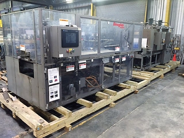 Douglas Shrink Wrapper & Tunnel, Model # SR4-724, S/N M-4813, registered film shrink wrapper and tunnel for trays / Allen-Bradley 5/04 PLC & PanelView1000e (Located in South Carolina)***NORTH***