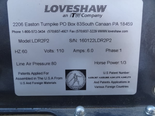 "Loveshaw Case Sealer, Model # LDR-2P2, S/N 160122LDR, semi-automatic top & bottom case taper (comes with 2"" bottom tape head only) (Located in NewYork)***BLB***"