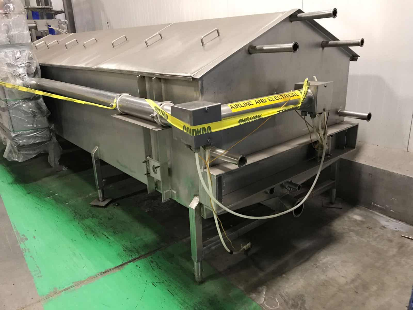 """Viking Hydra-Form Mozzarella Block Molder/Chiller System, S/N 97-036-RH, with Allen Bradley Panel View Plus 1000 Controls & 5/30 PLC. 54"""" Wide Chill Tank, Tank Length for Chilling is 22' Lonf, Operational Width-Turning End with Cylinder 9' Long, Including Lift/Drop Area. Operational Width at Fill End 9'. Operational Length with Infeed & Discharge Shuttles is 35' Long, Molding Section is 80"""" Long, Dual Auger All S/S. Molder Extruder Extends 48"""" from Side at Filling End. (Located in California) ***RLF***"""
