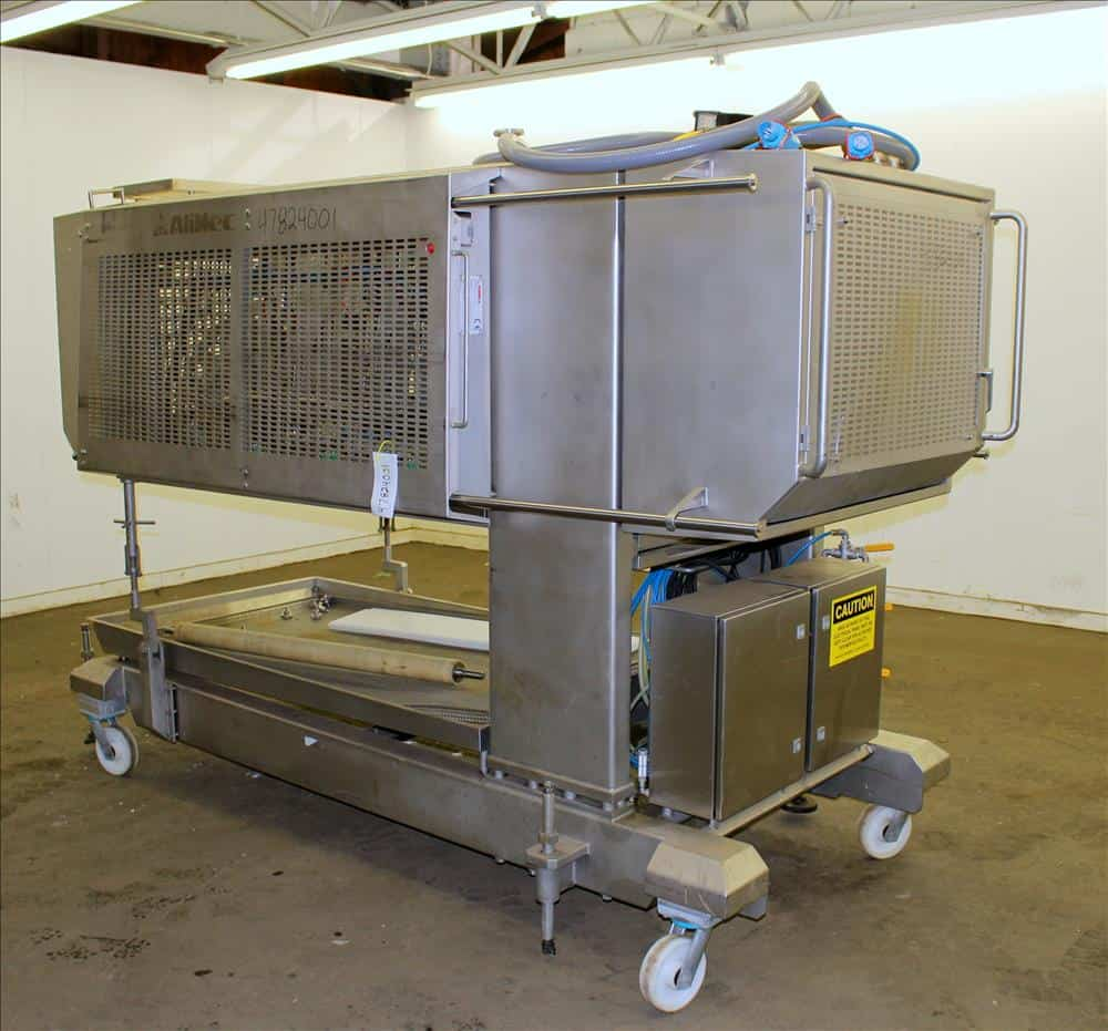 2009 Alimec Food Pepperoni Slicer, Model Slicer,  S/N 628-54, 3 Station, no infeed magazines. Missing blade, blade driven by a 3 kW (4 hp), 3/60/240/480 volt, 870 rpm motor. Bottom drain pan. Mounted on a stainless steel frame with casters (Located in Chicago)***MDGAEK***